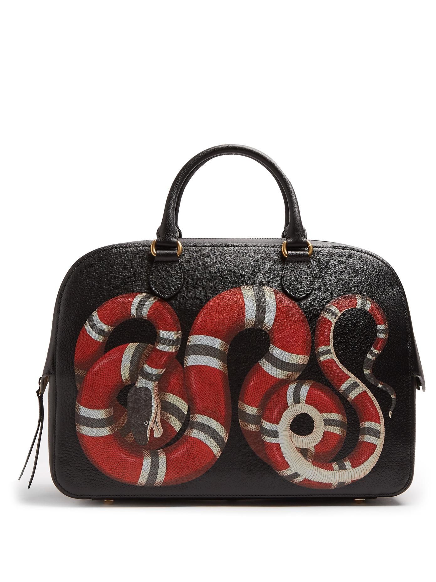 767bc80c1637 Gucci Snake Print Leather Duffle in Black for Men - Lyst