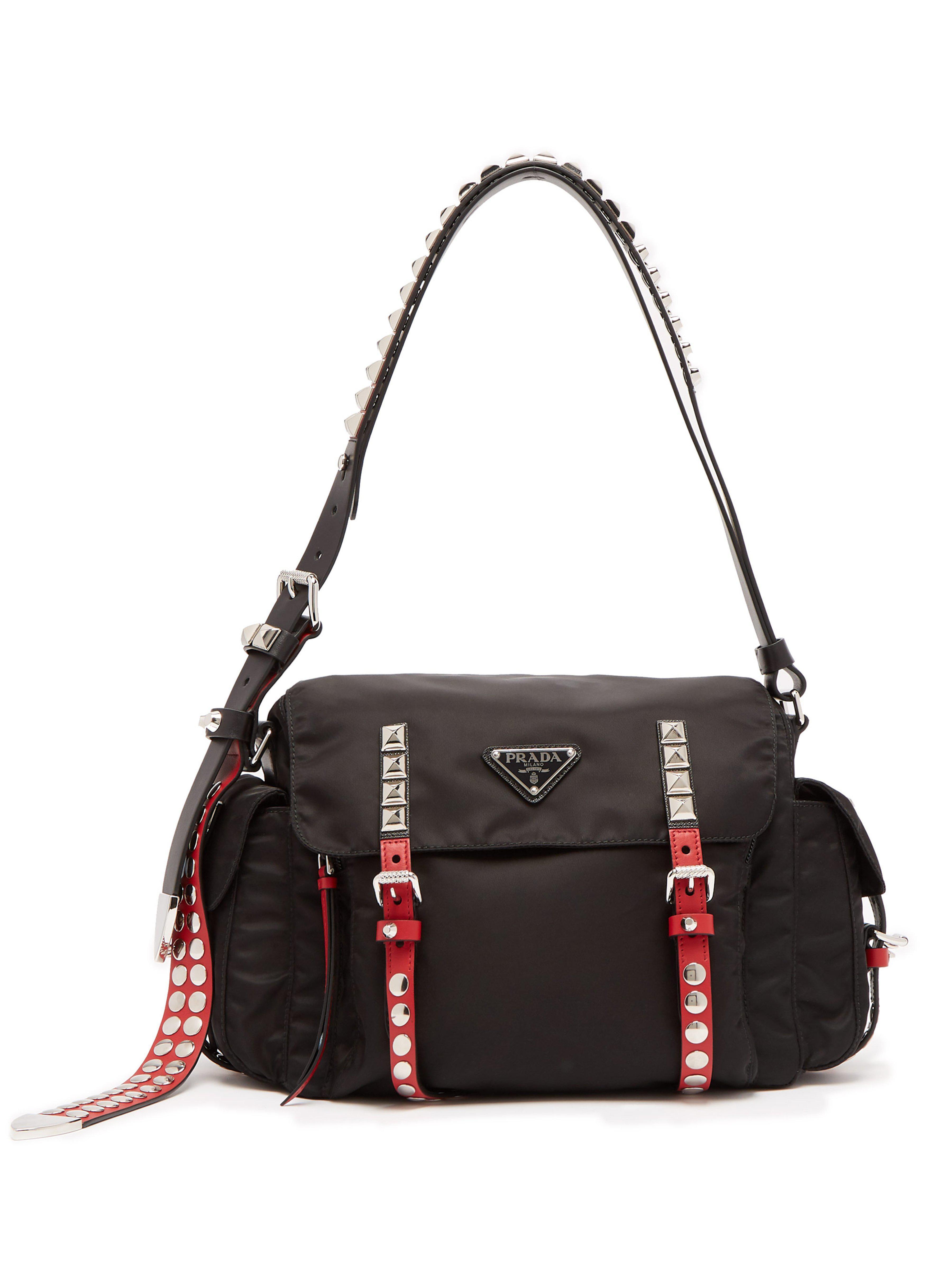 Prada - Black Vela Leather Trimmed Cross Body Bag - Lyst. View fullscreen 0d1c961c1cc61
