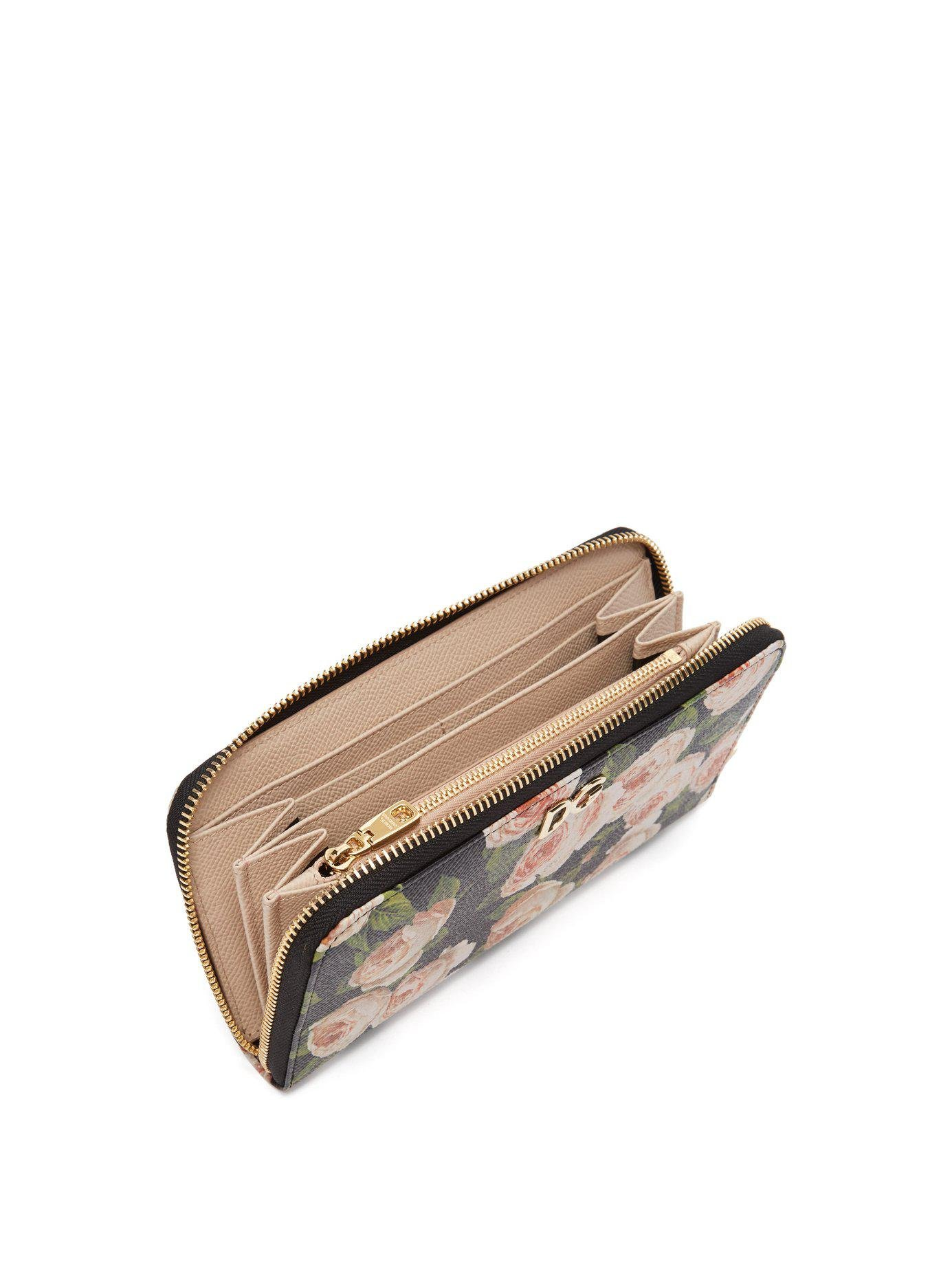 ea25ebdb1156 Lyst - Dolce   Gabbana Rose Print Continental Dauphine Leather Wallet