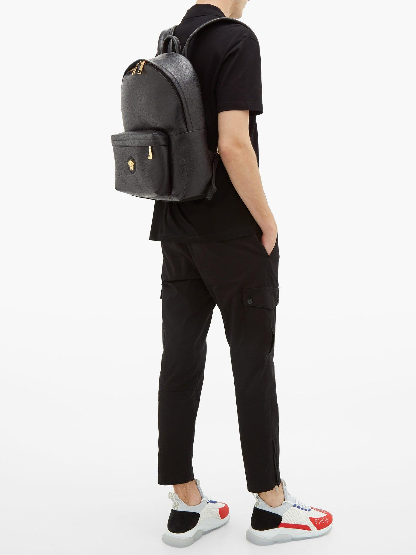 a8dde8a6375 Versace Medusa Head Leather Backpack in Black for Men - Lyst