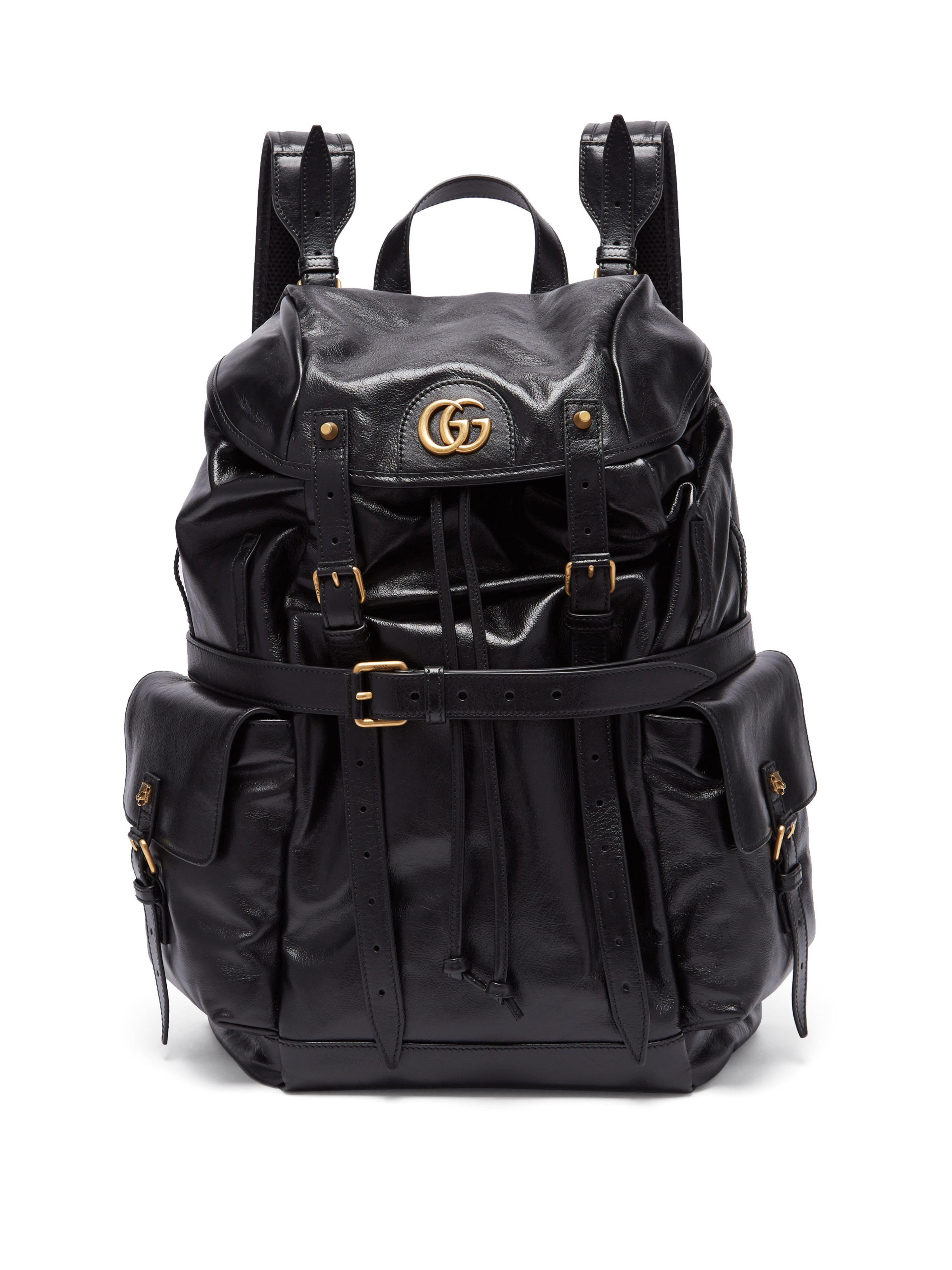 Gucci Gg Plaque Crinkled Leather Backpack in Black for Men - Lyst c67f24ae6c751