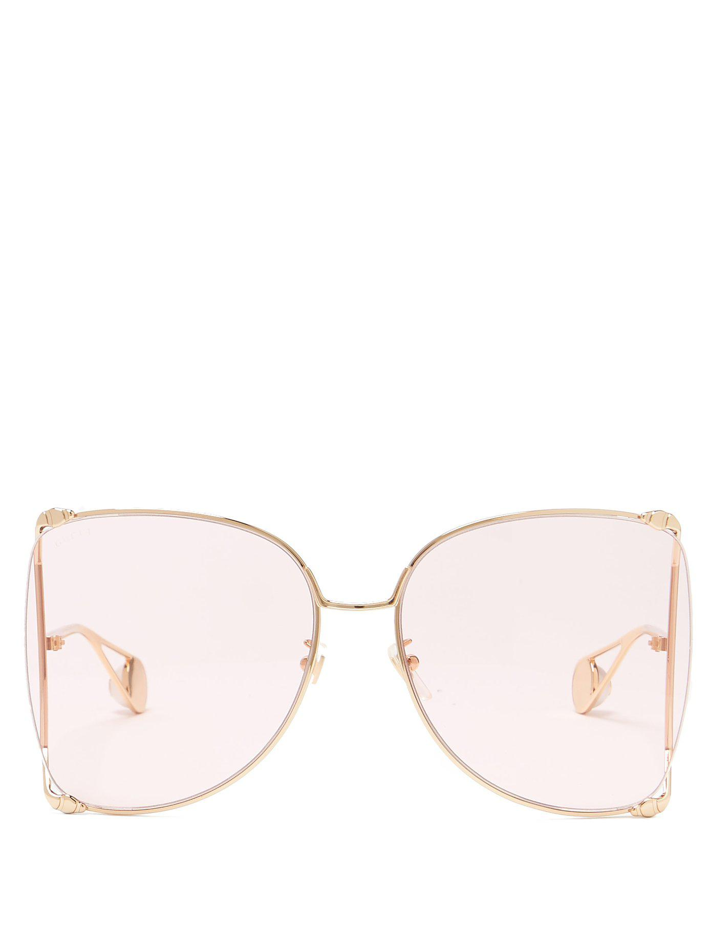 237297481d Lyst - Gucci Oversized Butterfly Frame Gg Sunglasses in Pink - Save 35%