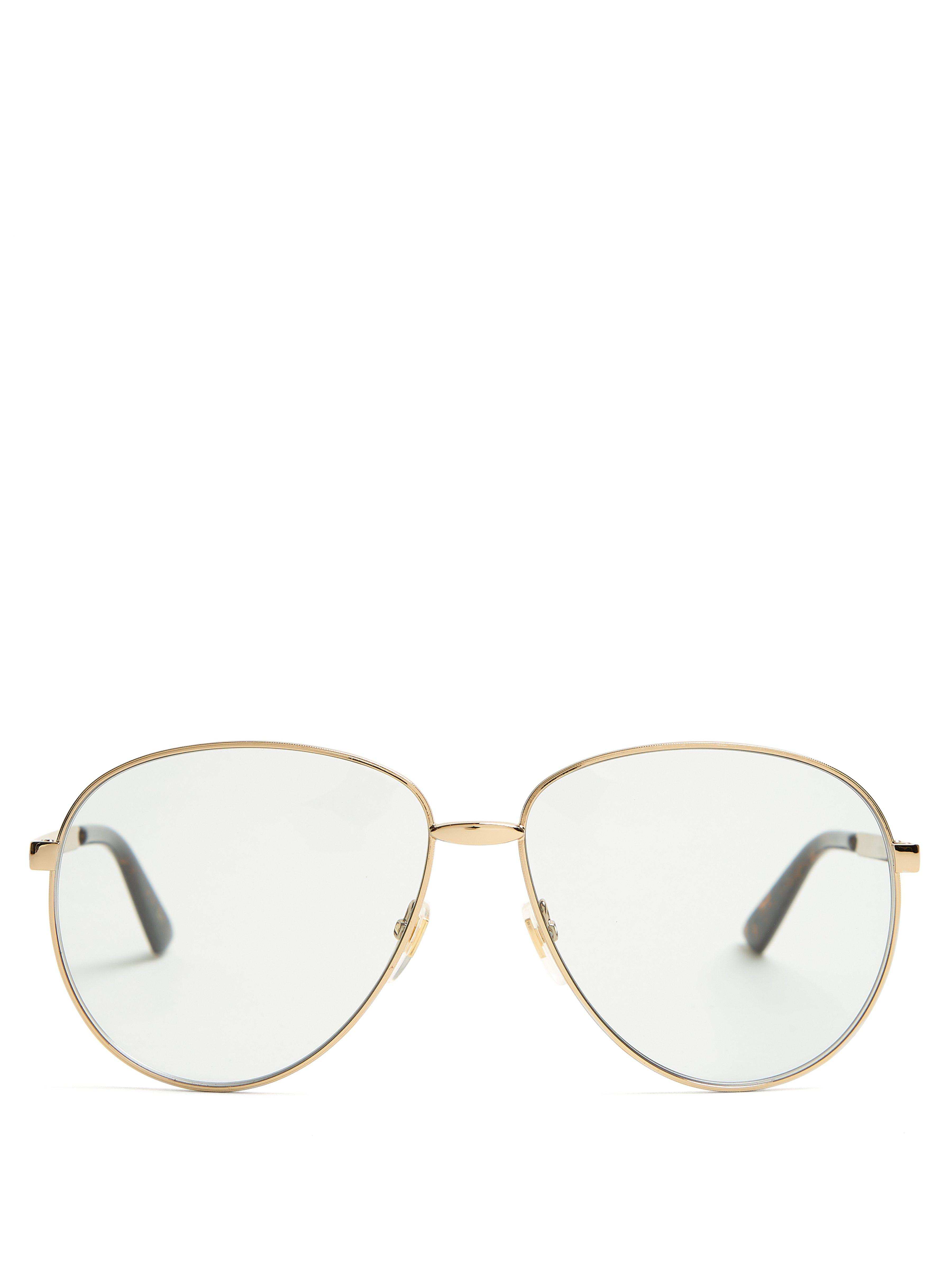 fc4ebc7e827c6 Gucci Aviator Glasses With Web in Metallic for Men - Save 6% - Lyst