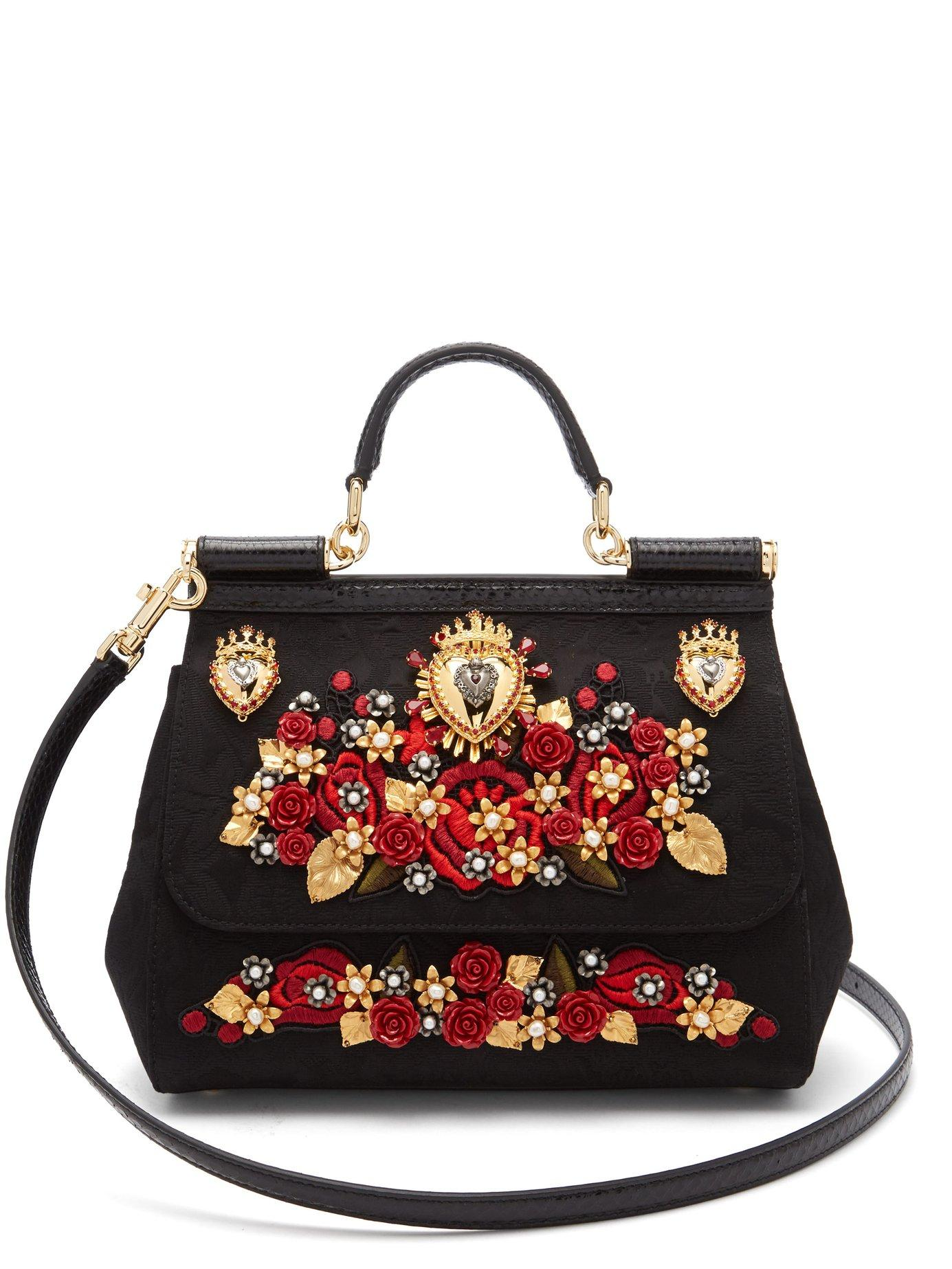 30756e9f06 Lyst - Dolce   Gabbana Sicily Ayers   Brocade Cross Body Bag in Black