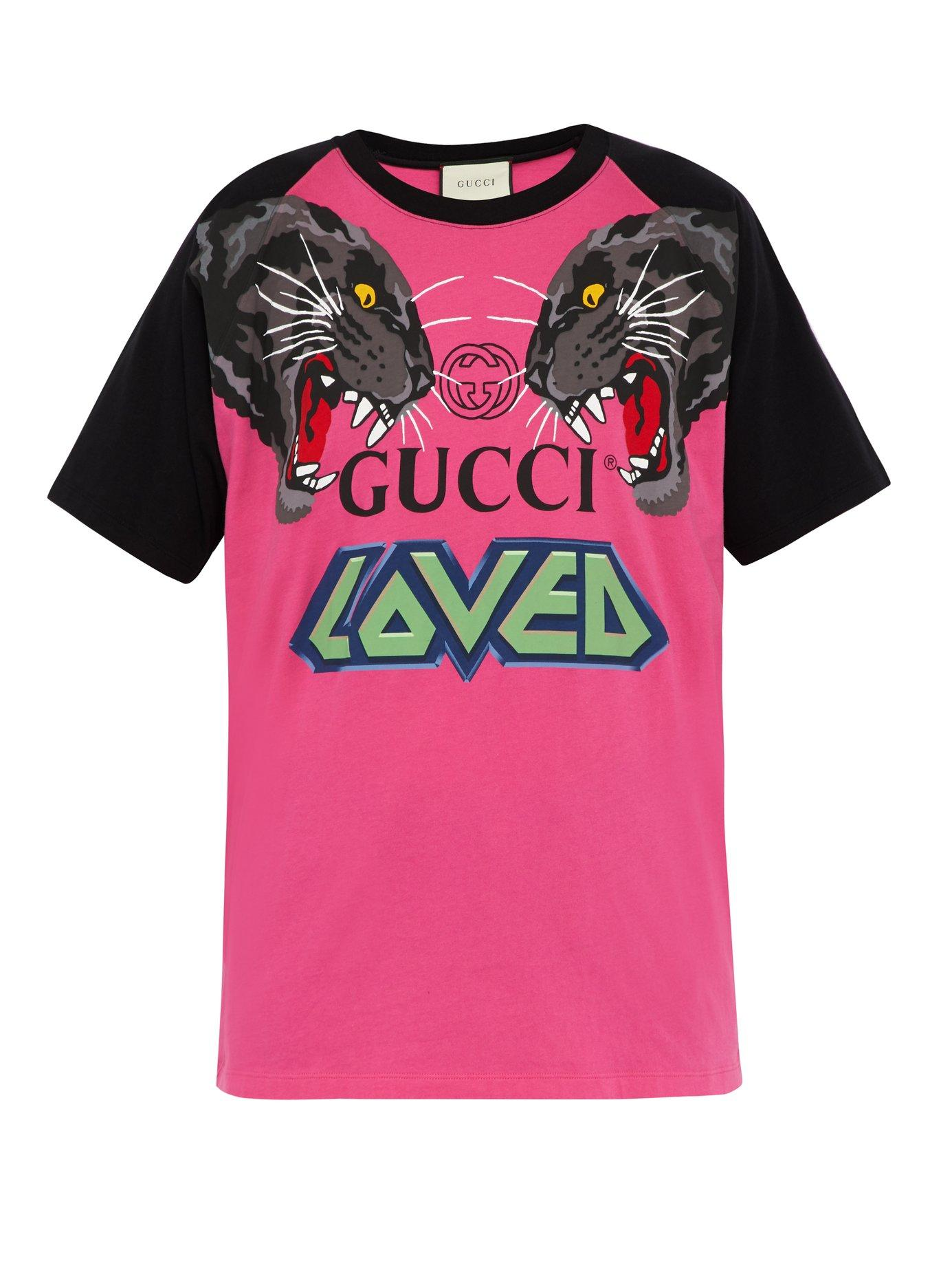 aa63b83dde7b Lyst - Gucci Oversize T-shirt With Tigers in Pink for Men