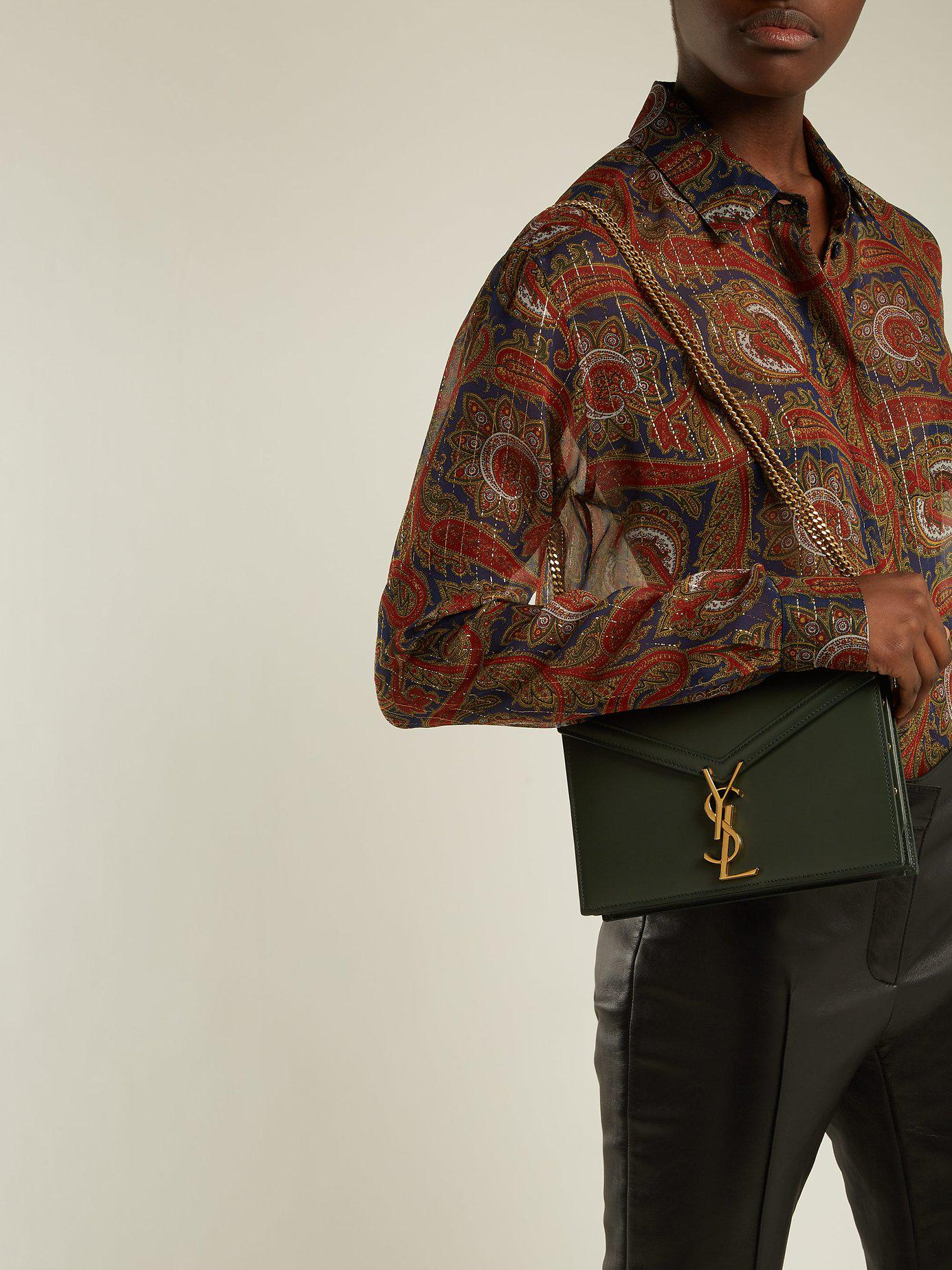 da6d1028c99 Saint Laurent Cassandra Ysl-clasp Leather Cross-body Bag in Green - Lyst
