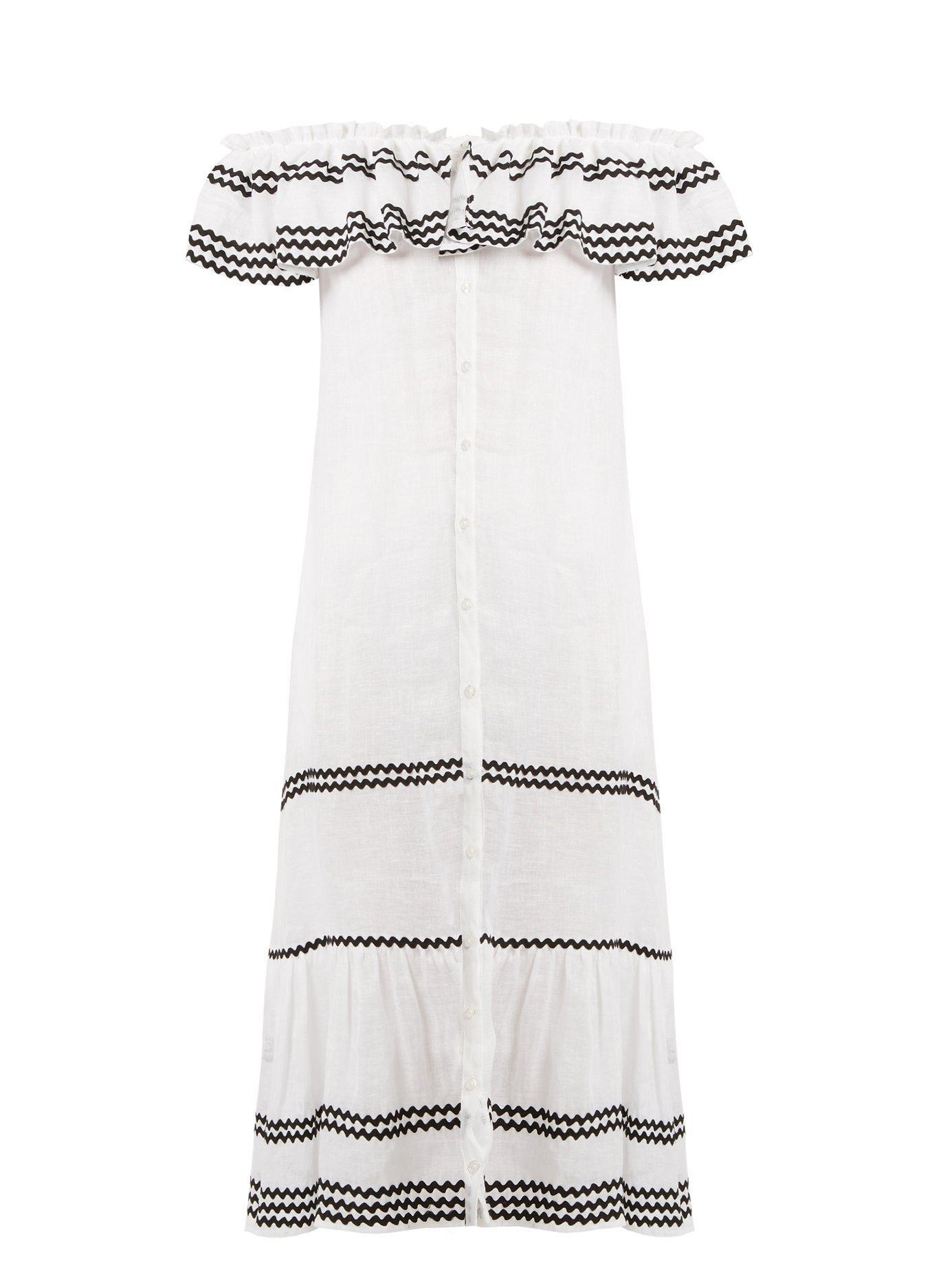e30a0640a2 Lisa Marie Fernandez. Women s White Mira Ruffle Trimmed Button Through Linen  Dress
