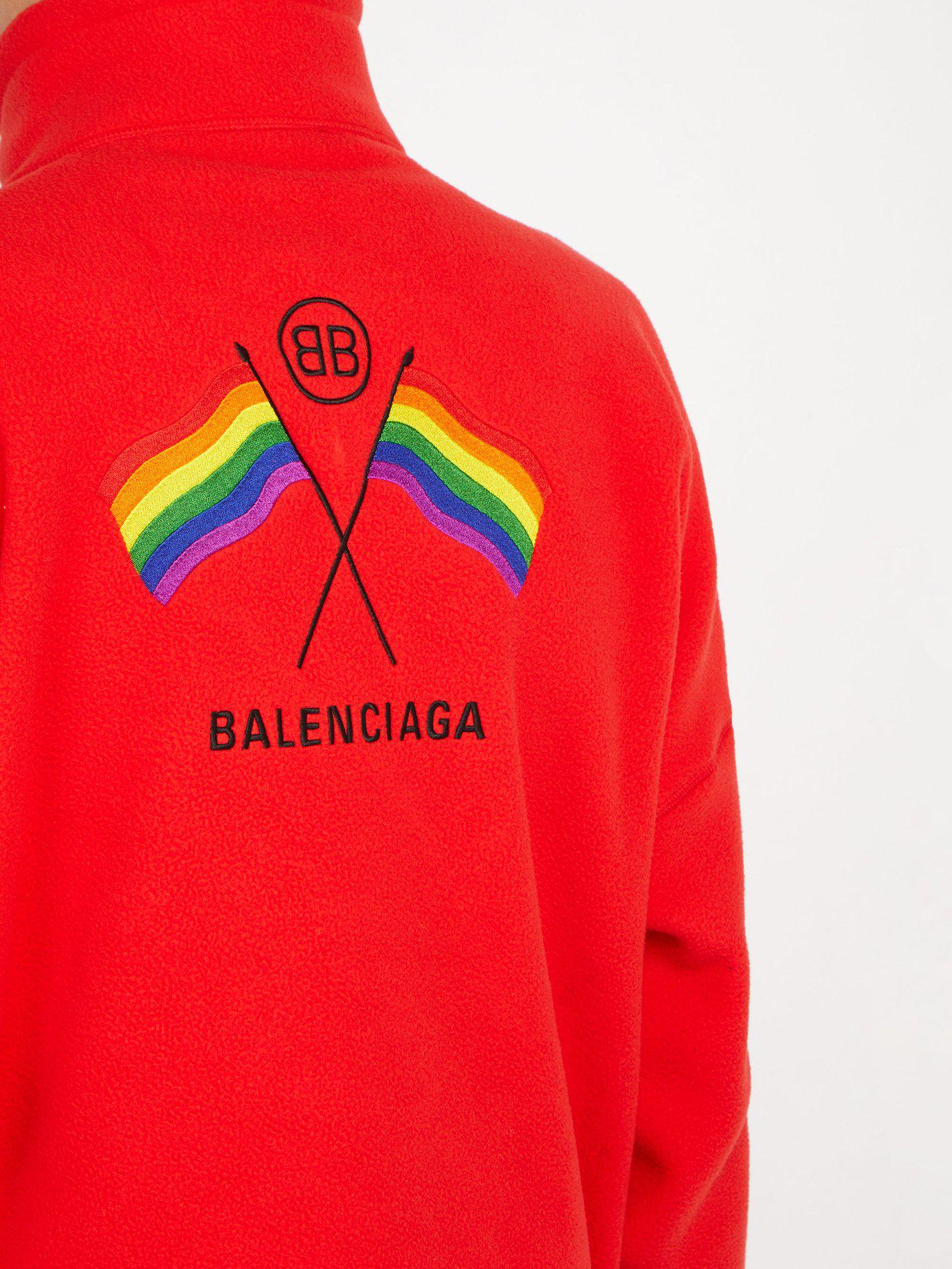 90af751a Tap to visit site. Balenciaga - Lgbtq+ Flag Embroidered Zip Through Track  Top ...