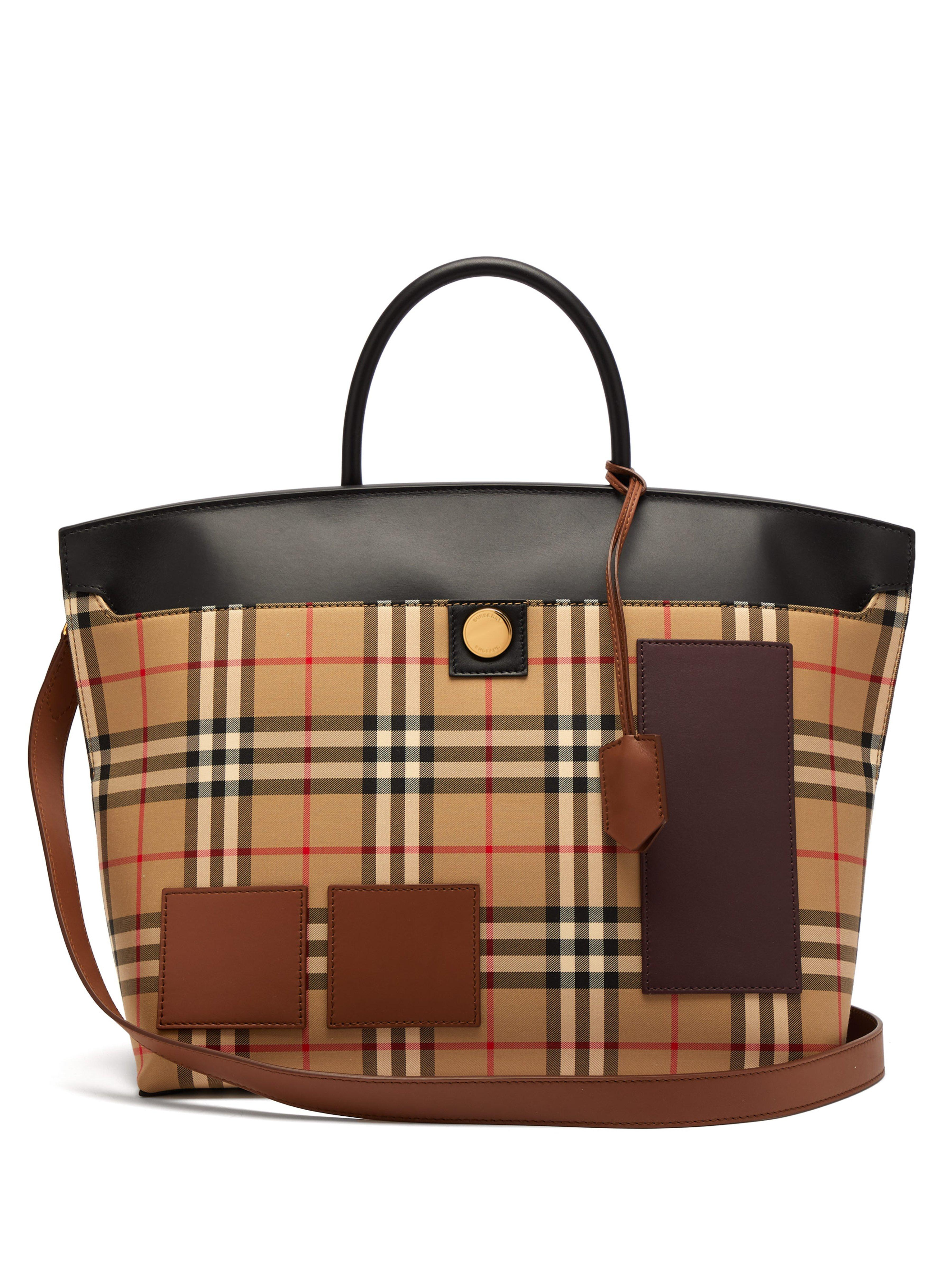 5f4a14f5e17c Burberry Society House Check Canvas Tote Bag in Natural - Lyst