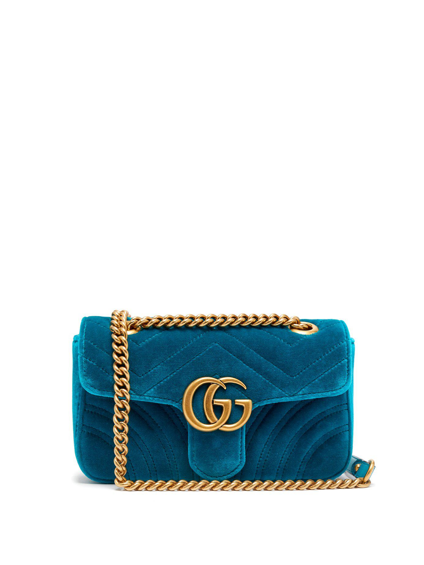 b0ca56089b4 Lyst - Gucci Gg Marmont Mini Quilted Velvet Cross Body Bag in Green