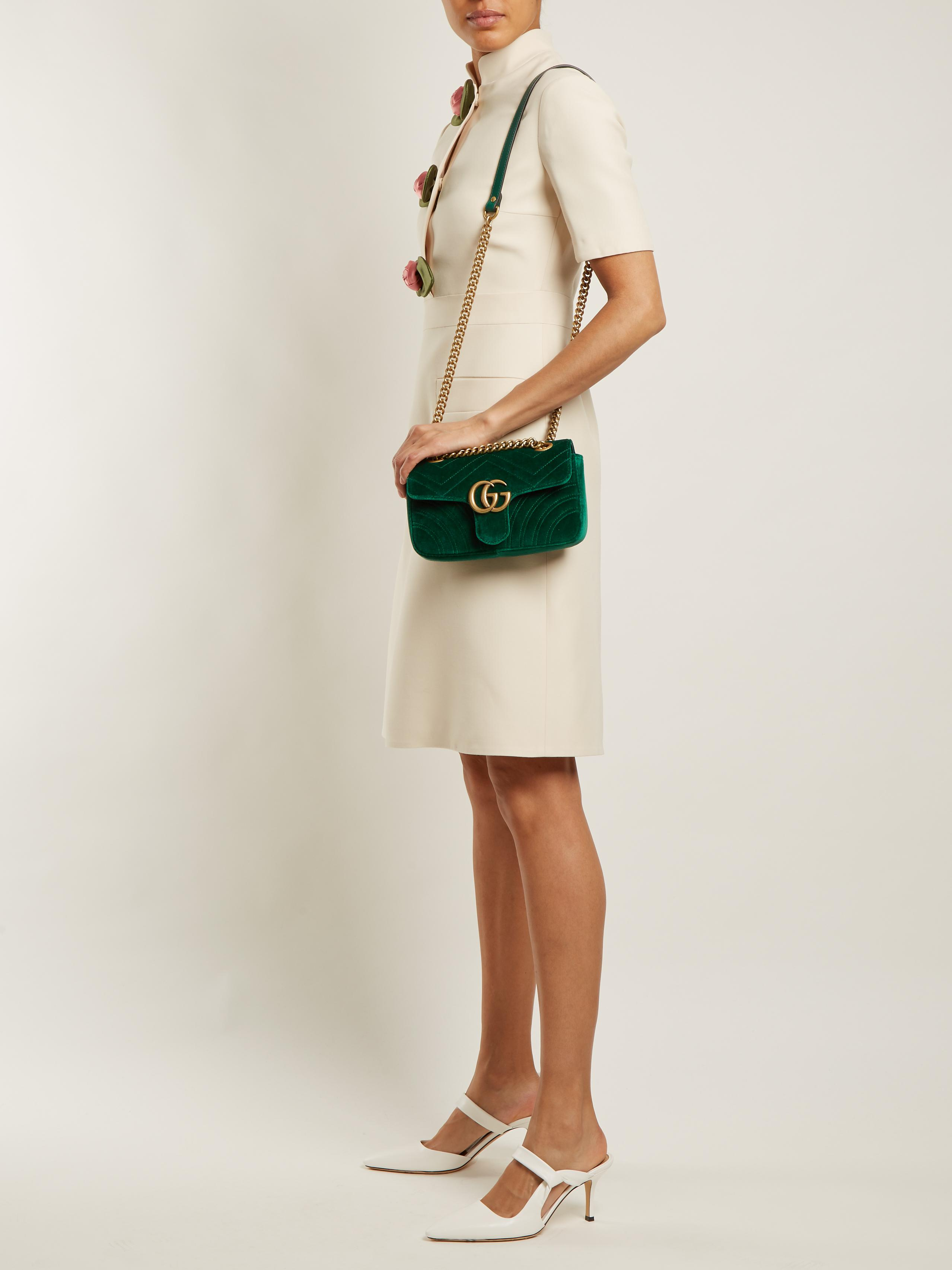 1c66aeac9ae Lyst - Gucci Gg Marmont Mini Quilted-velvet Cross-body Bag in Green