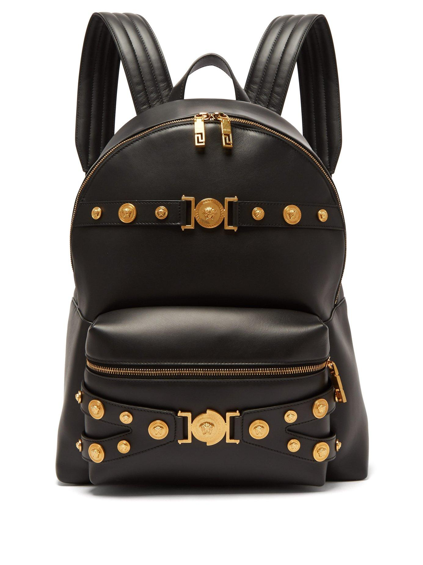 Lyst - Versace Medusa Head Leather Backpack in Black for Men f9154f75aad2c