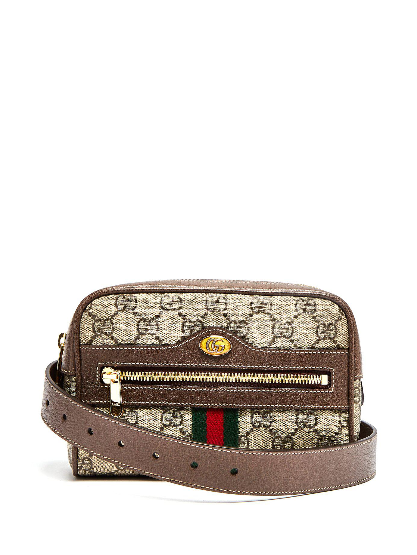 49f3b2a9578 Lyst - Gucci Ophidia Gg Supreme Belt Bag in Brown - Save 4%