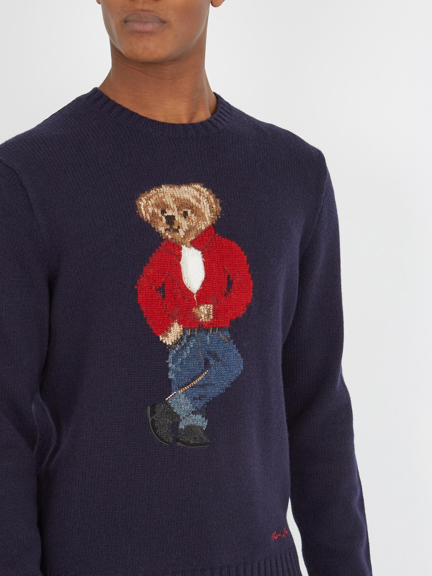 « Alzheimer's Sweater Polo Bear Ralph Intarsia Lauren Blend Wool hrCtsdQ