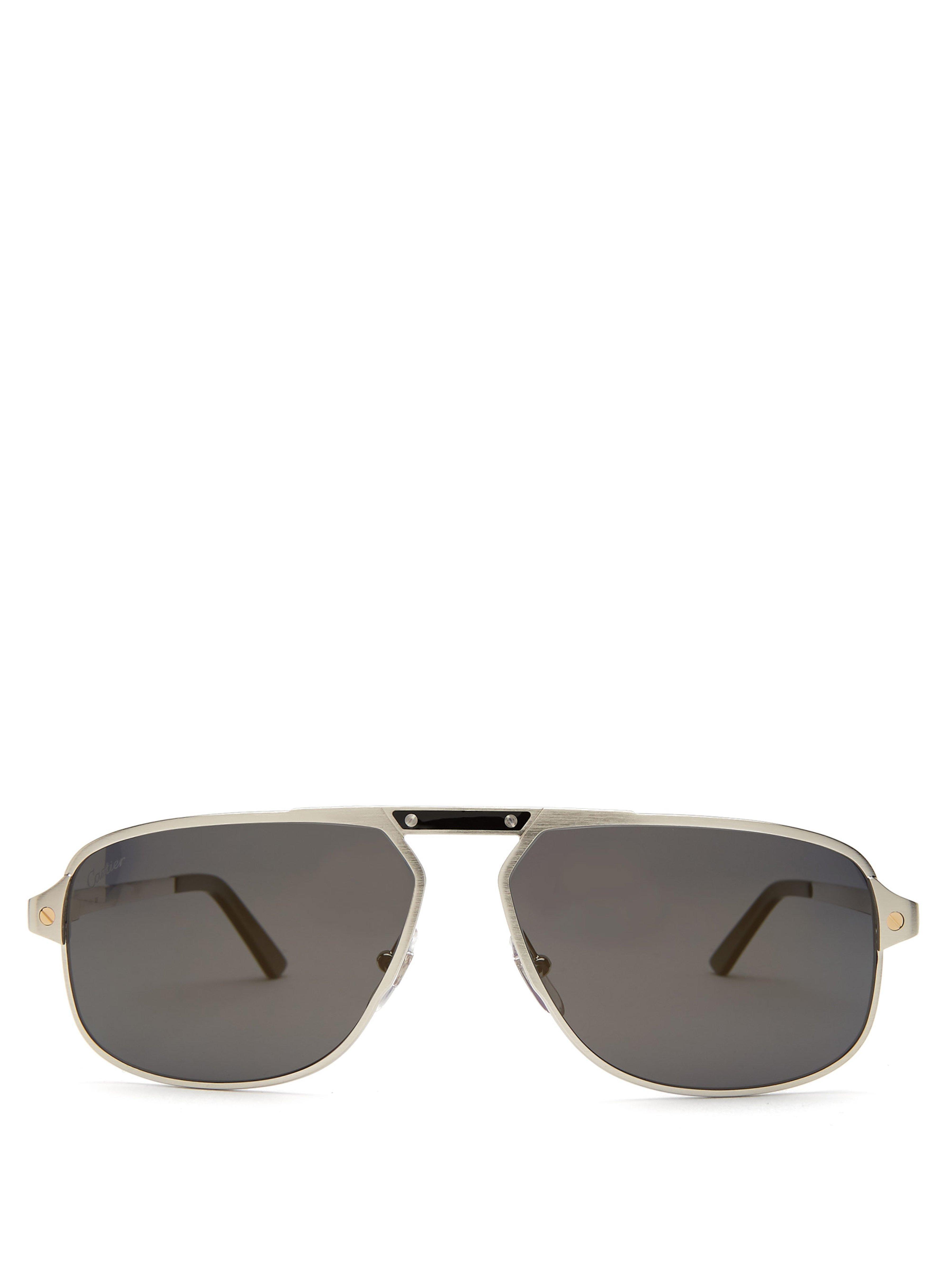 24768fd42d042 Cartier Santos De Cartier Aviator Sunglasses for Men - Lyst