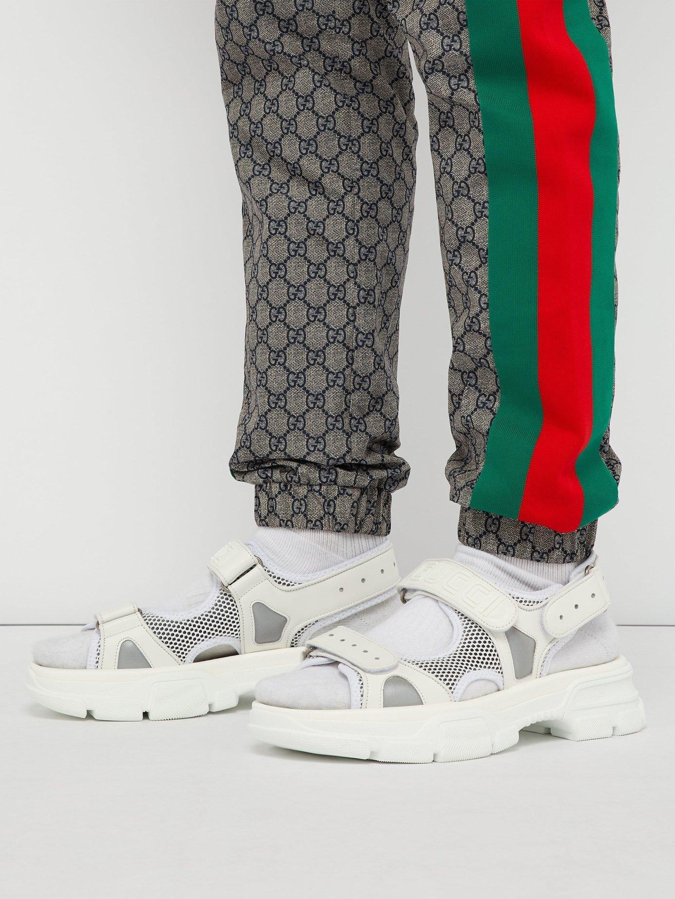 5cbf904ec Gucci White Leather And Mesh Sandals for men. View fullscreen