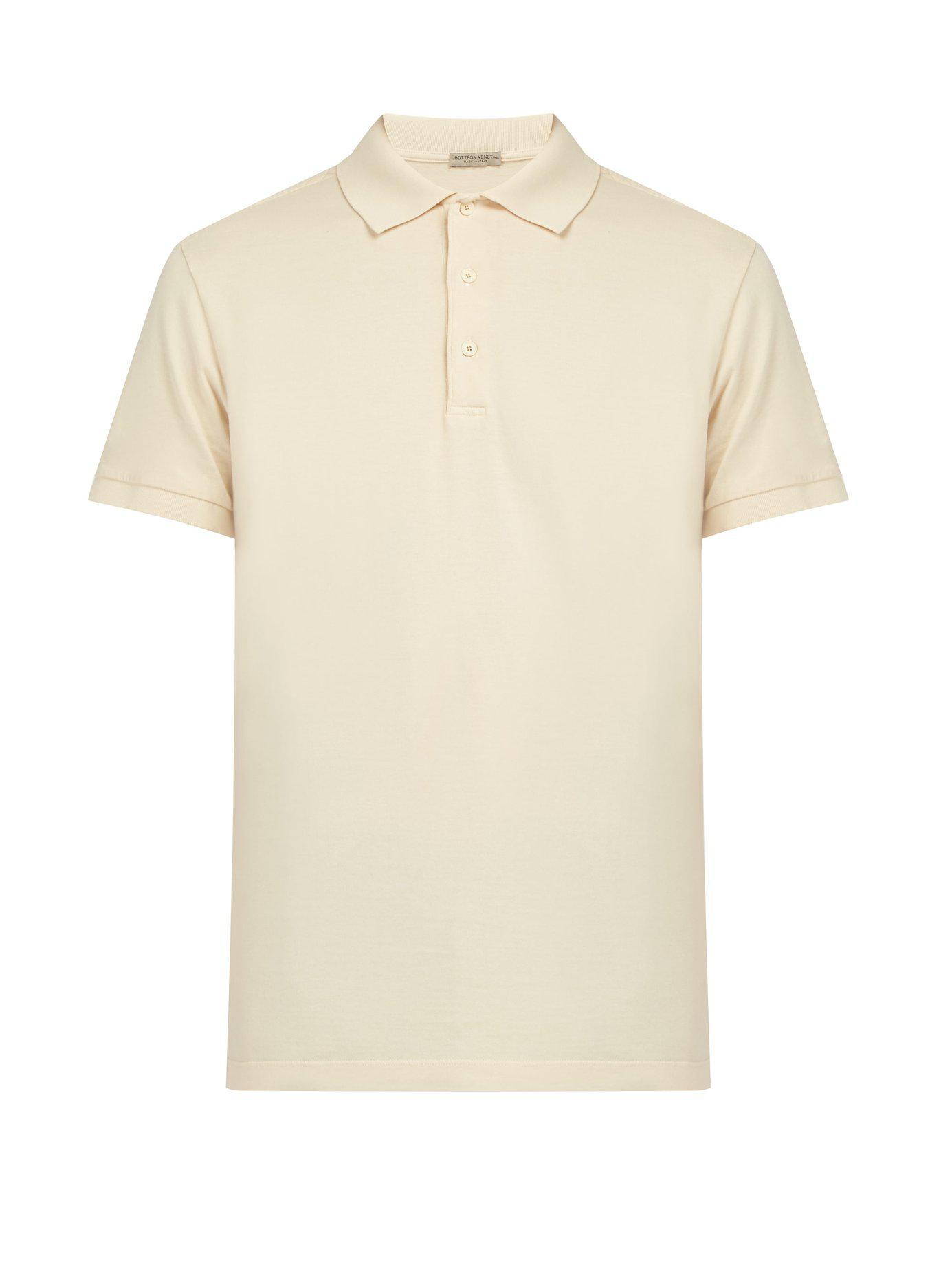 e700532fee Lyst - Bottega Veneta Intrecciato Cotton Polo Shirt in Natural for Men