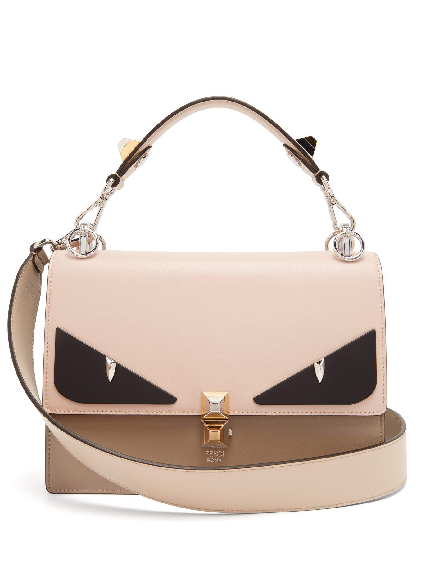 6dacc2f08986 Lyst - Fendi Kan I Monster Eyes Leather Bag - Save 26%
