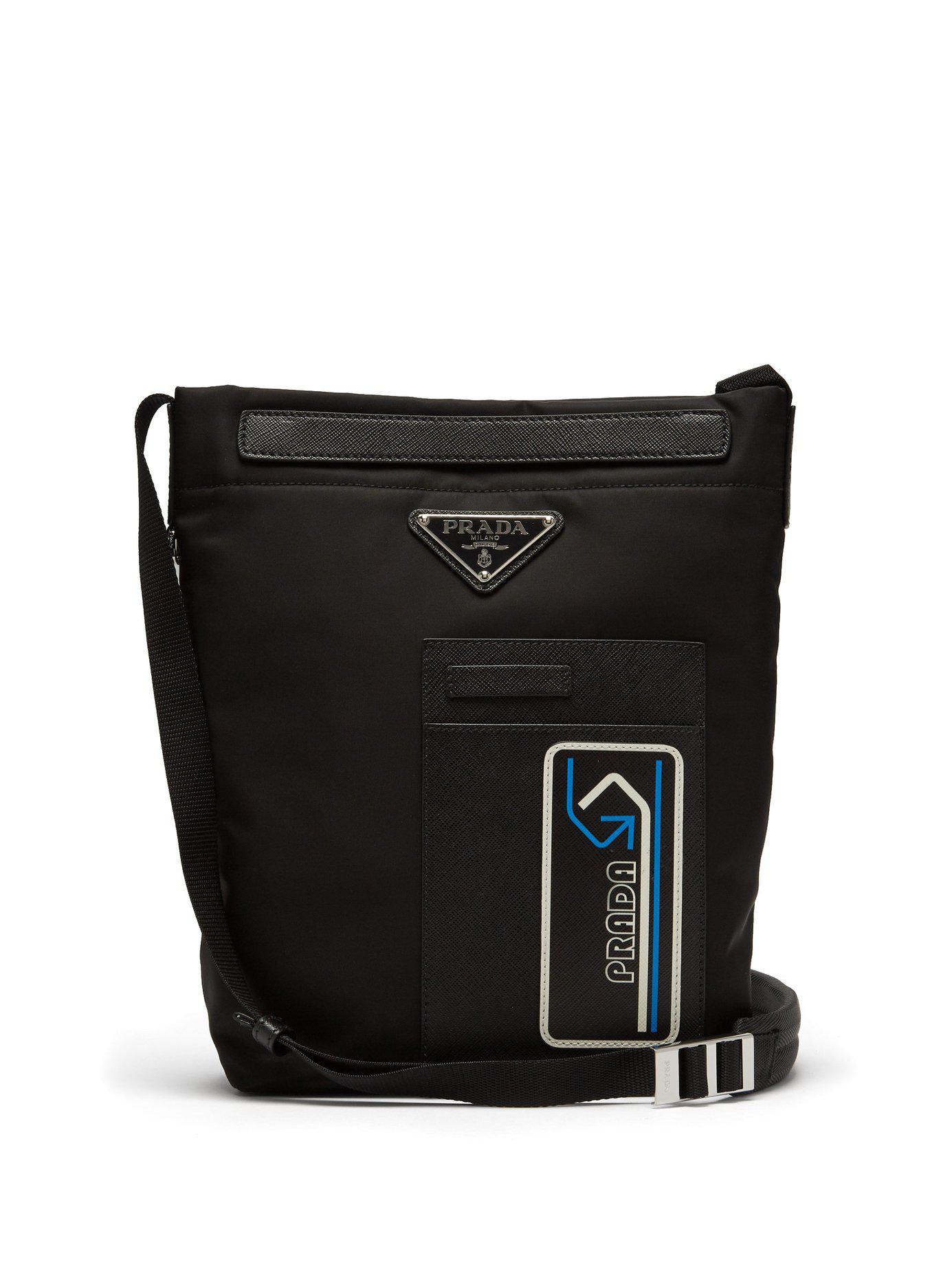84a92287f551 Prada - Black Logo-patch Nylon Cross-body Bag for Men - Lyst. View  fullscreen