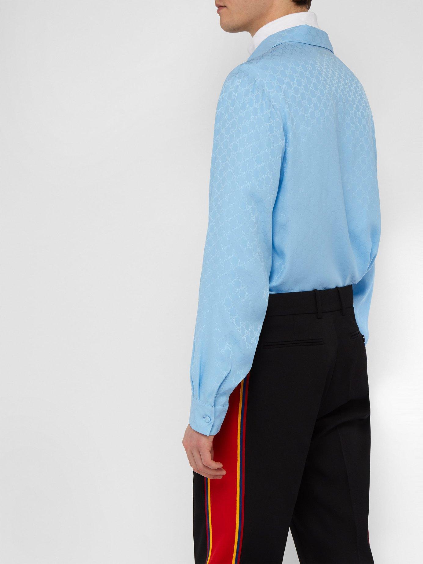 af0e29d25ac Lyst - Gucci Gg Supreme Print Silk Crepe Shirt in Blue for Men
