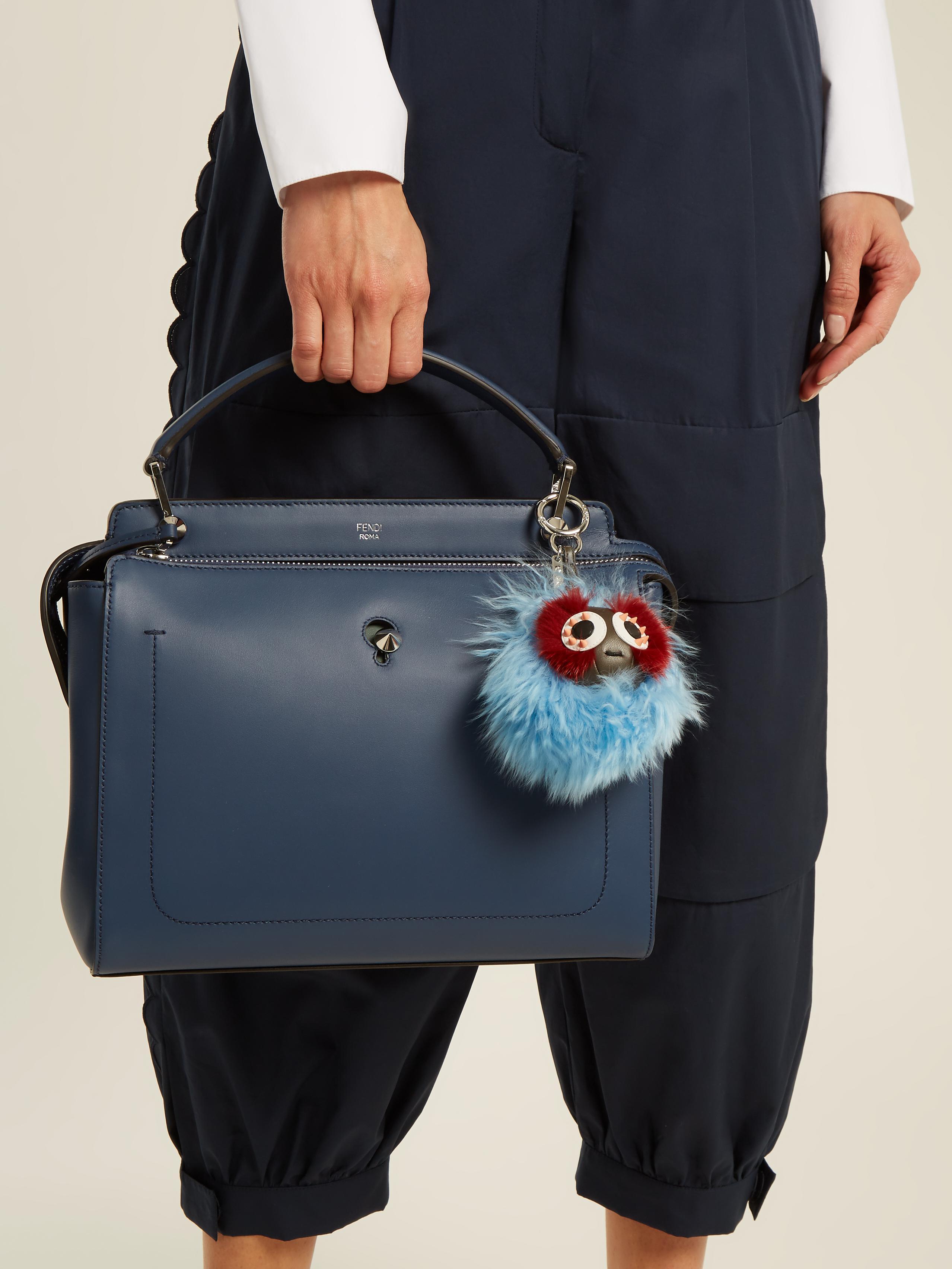 Mink & Alpaca Fur Mini Bag Bug Charm in Blue Fendi rV8K3M4r2