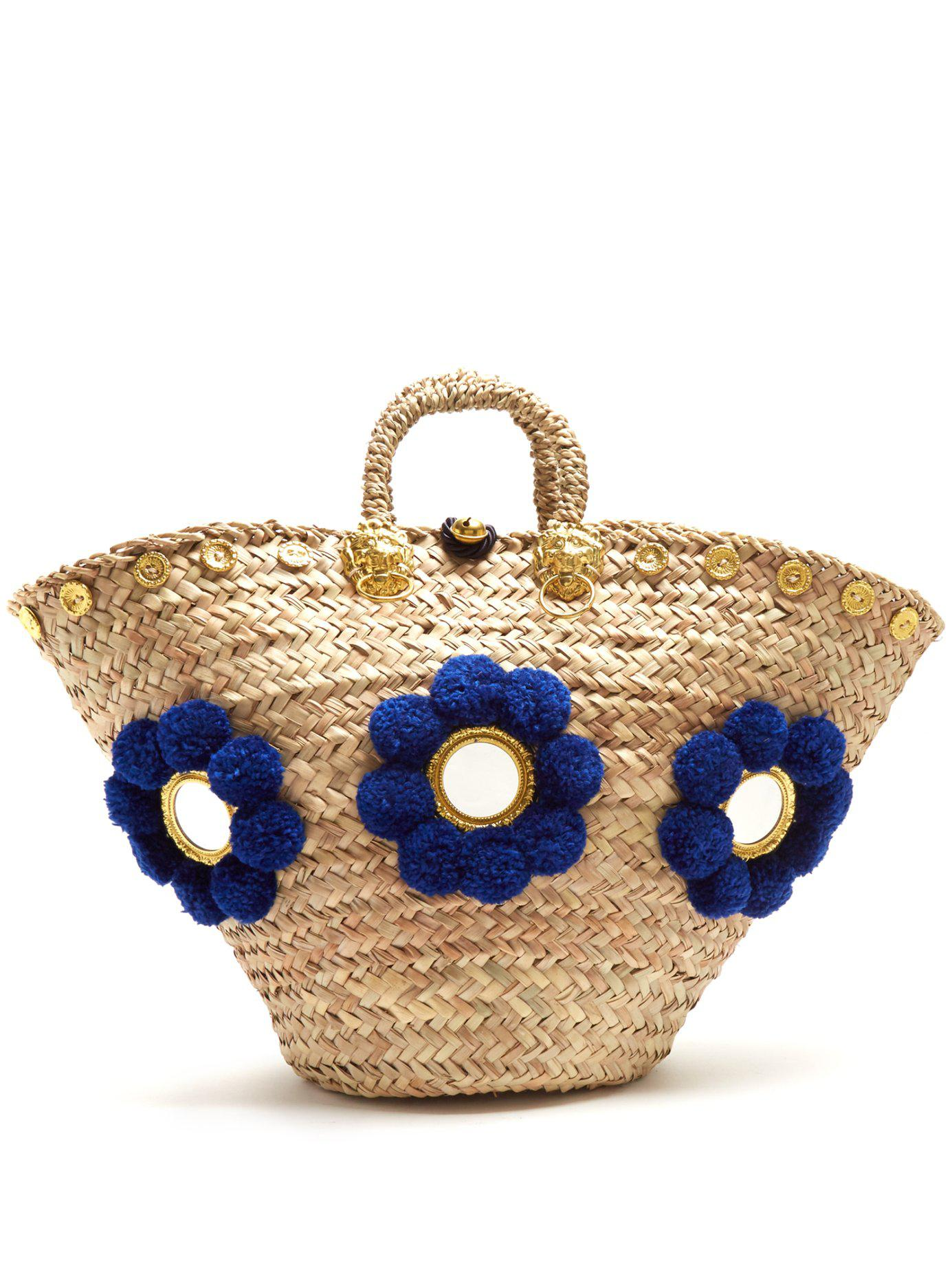 401e3b510e Lyst - Muzungu Sisters Large Sicilian Blue Pom Basket in Blue - Save 28%