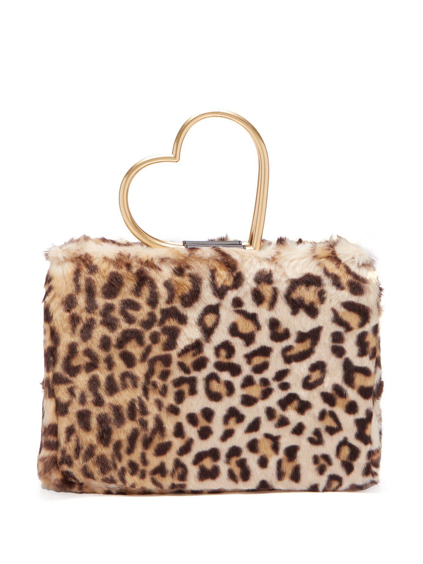 Lyst - Shrimps Nancy Leopard-print Faux-fur Bag in Brown 2263e92ff2d59