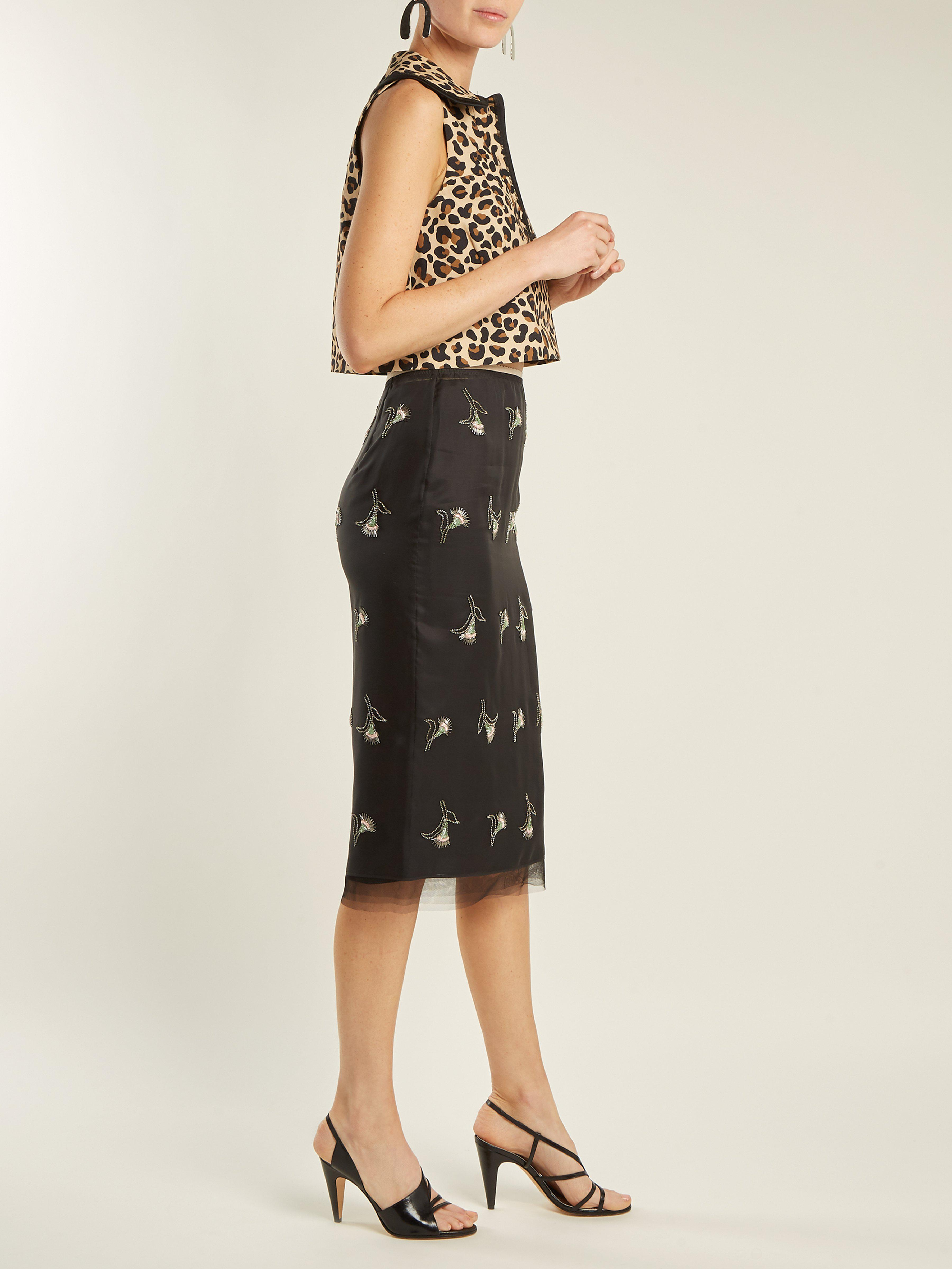 3012674a5020 Womens Black Bead Embellished Wrap Pencil Skirt – DACC