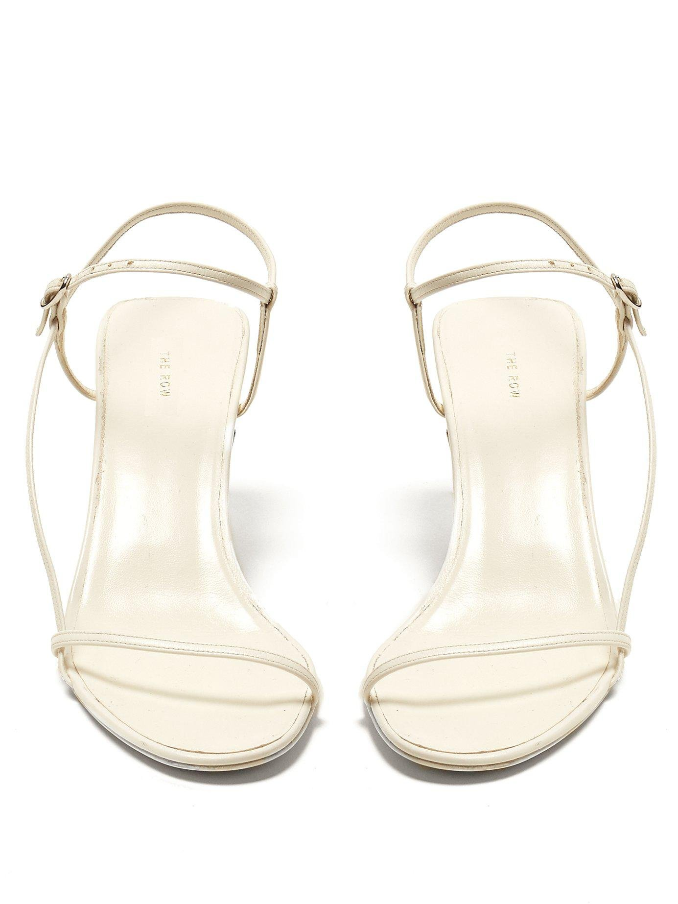 b6f658ed967 Lyst - The Row Mid Heel Slingback Sandals in White