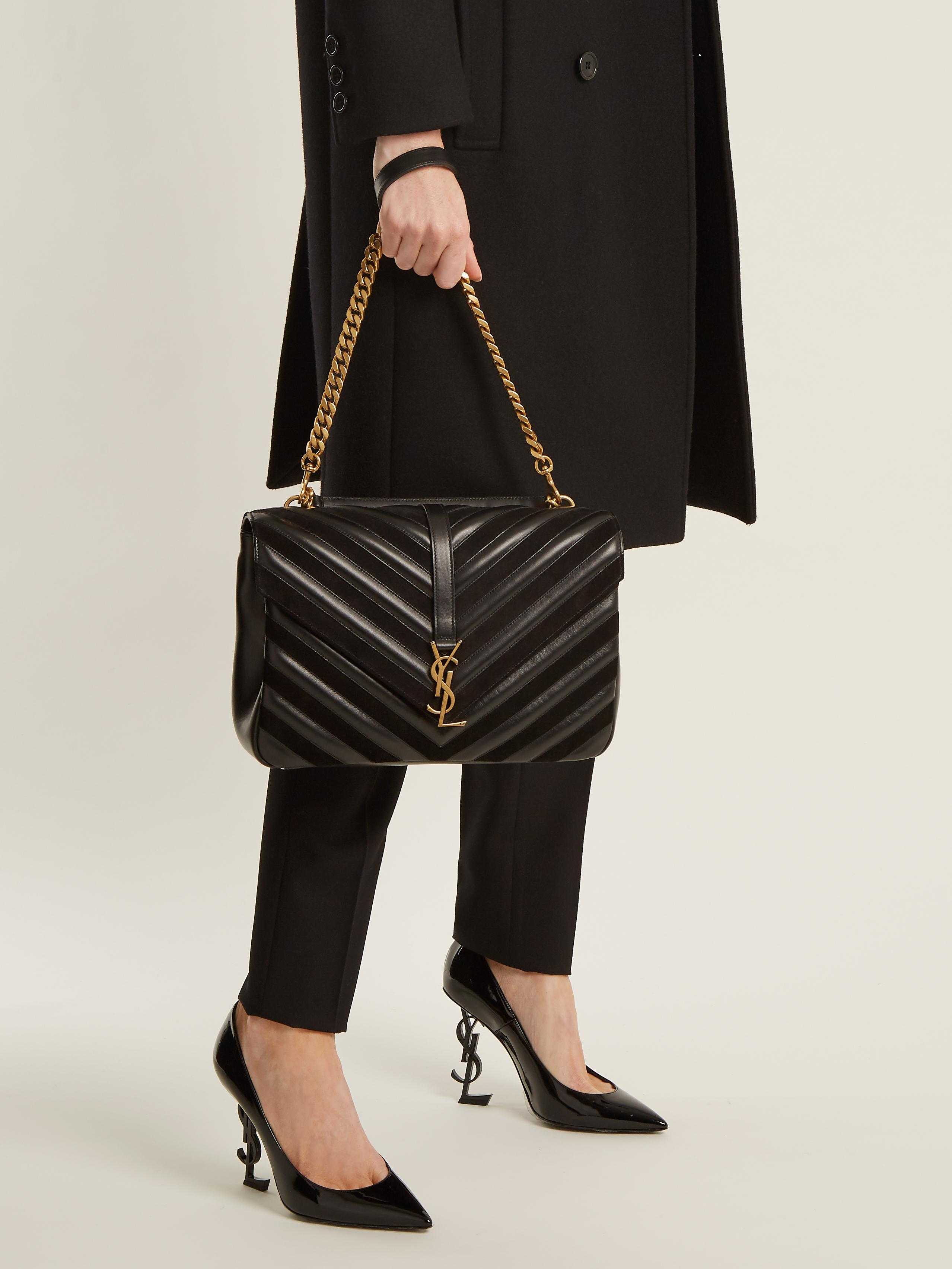 b13d89ca6e Saint Laurent Collège Large Quilted-leather Shoulder Bag in Black - Lyst