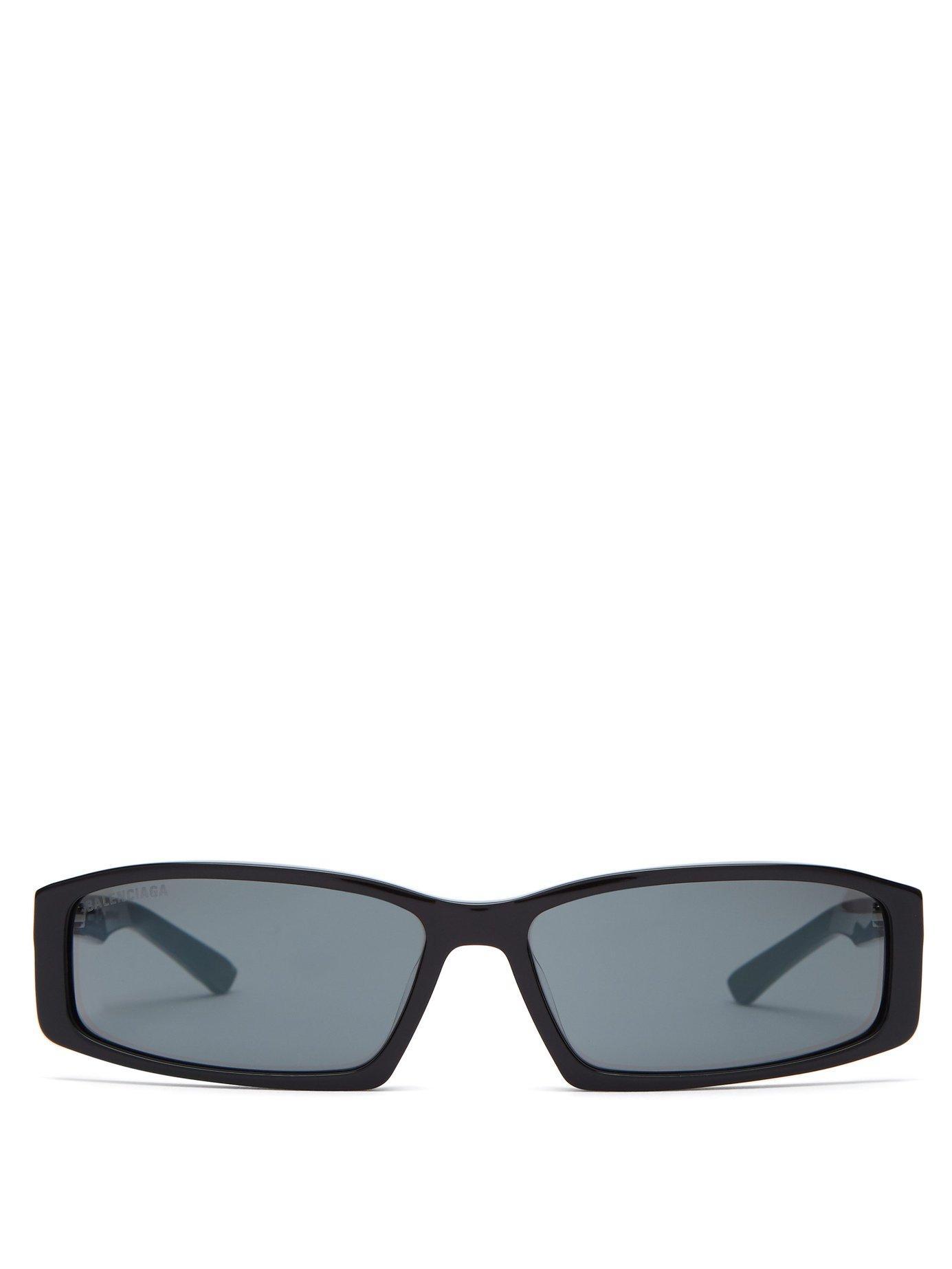 24c23116126 Lyst - Balenciaga Neo Rectangle Frame Acetate Sunglasses in Black ...