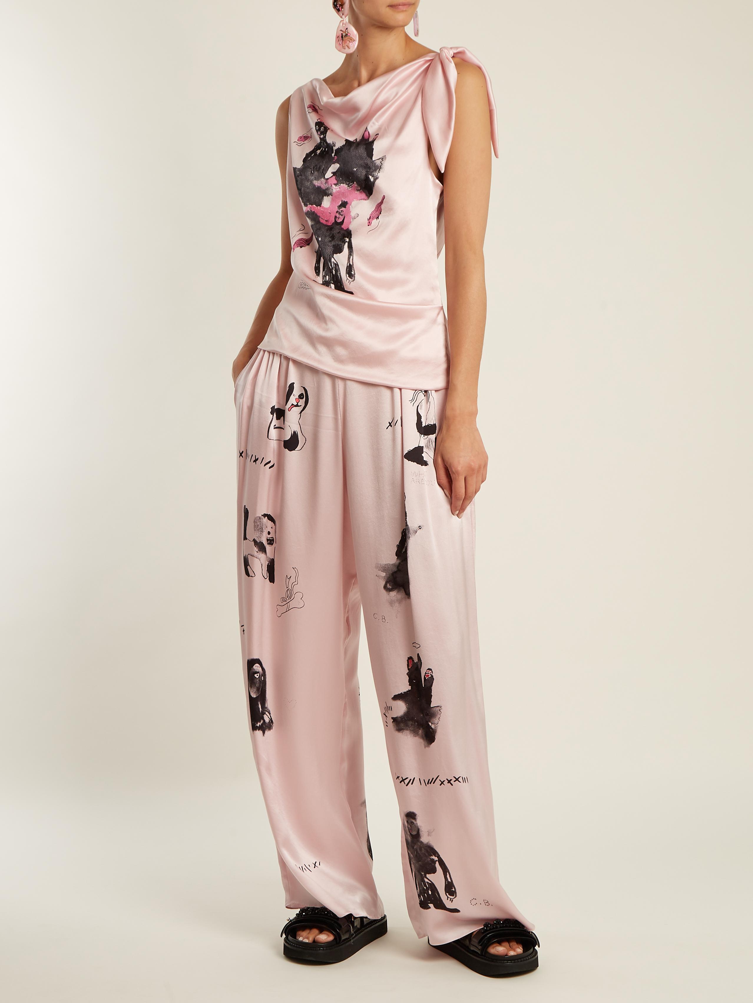 Mouse Monkey-print silk-satin top Claire Barrow Discount Prices Ekg61e3