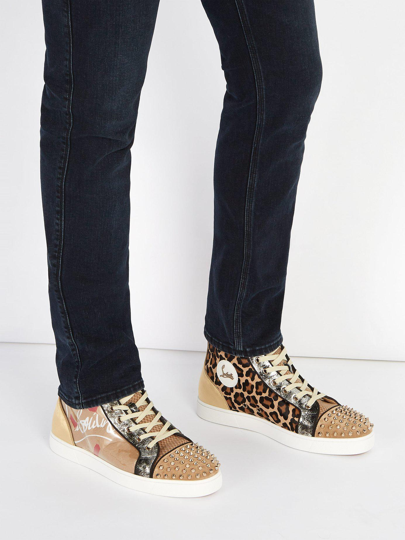 d21d877b8f88 Lyst - Christian Louboutin Louis Spike Embellished Kraft High Top Trainers  for Men