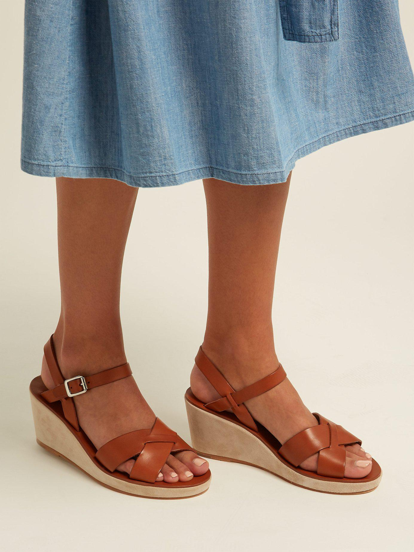 24c81062a Lyst - A.P.C. Judith Leather And Suede Wedge Sandals