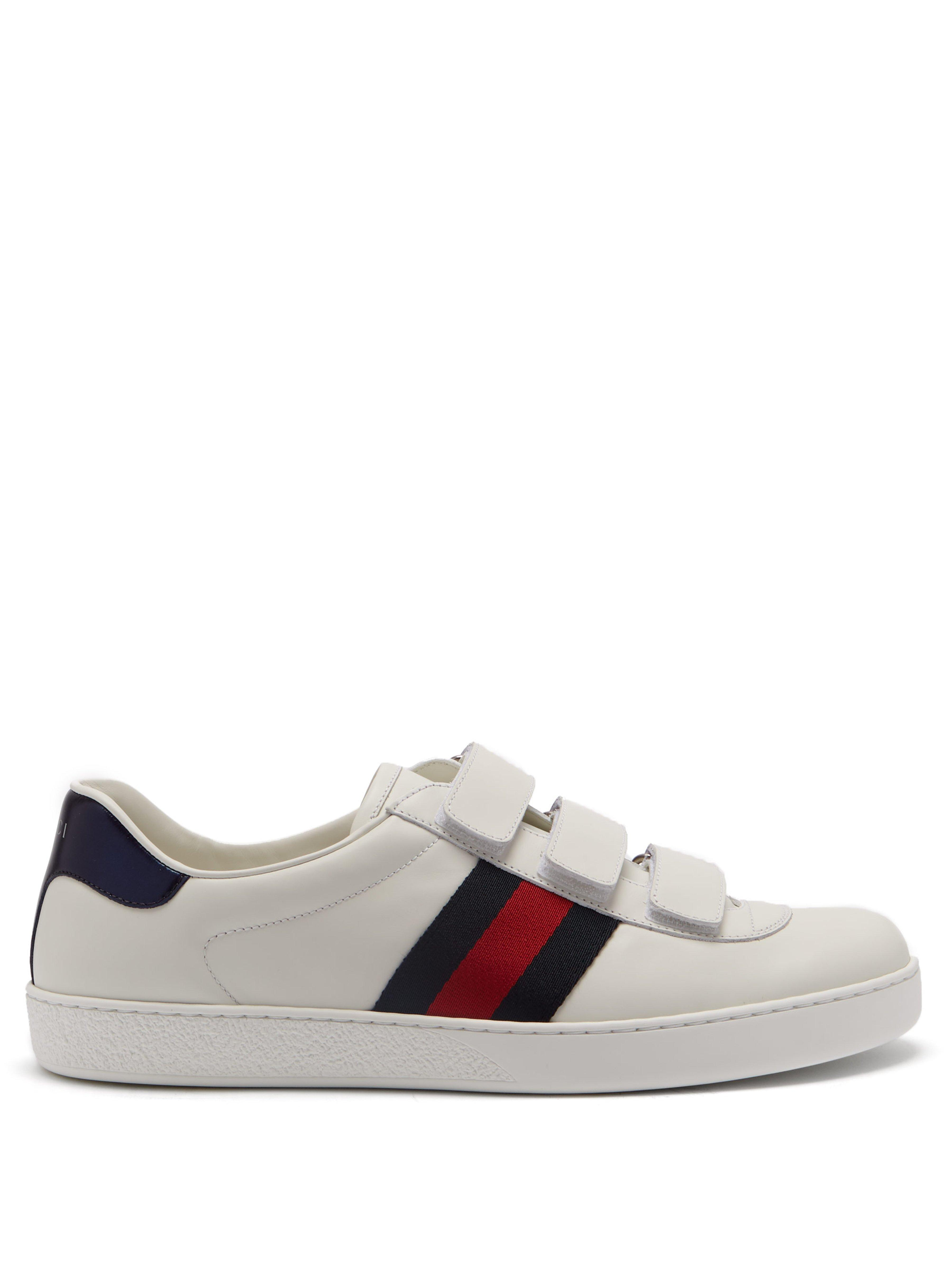77164346a61 Gucci New Ace Web Stripe Low Top Leather Trainers for Men - Lyst