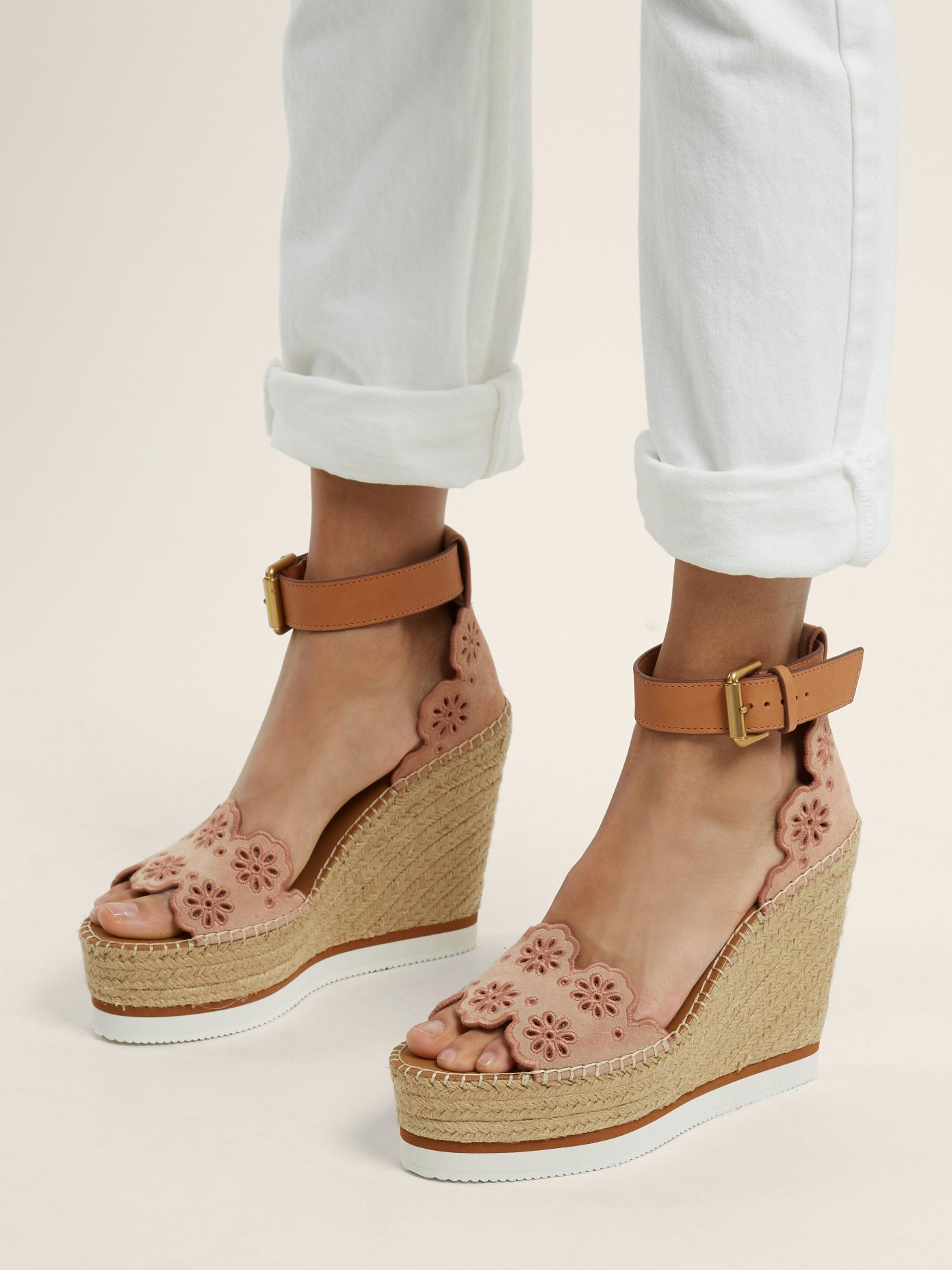 4abfef2b3610 Lyst - See By Chloé Flower Laser-cut Suede Wedge Espadrilles in Natural