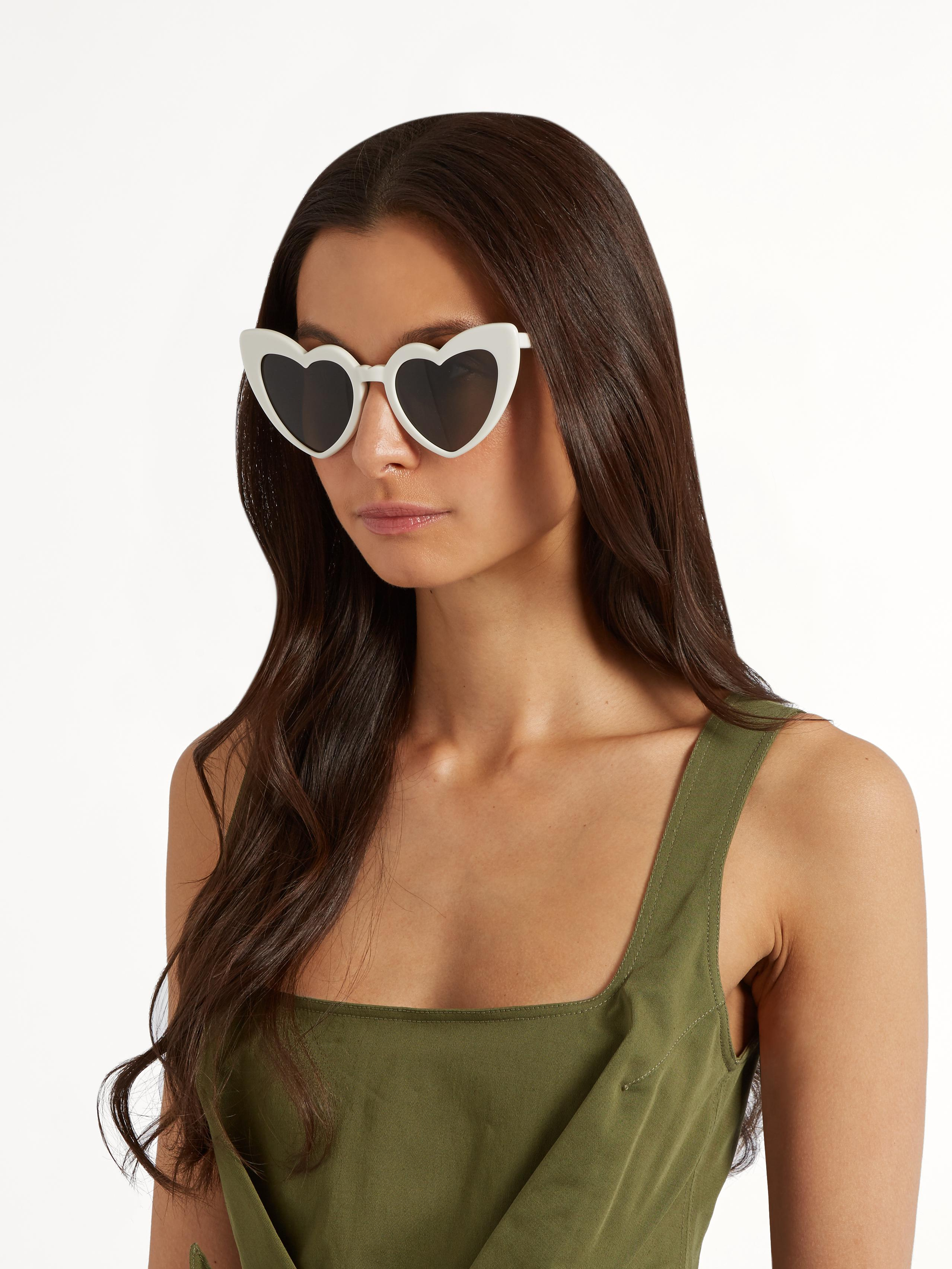 bf3193dee1 Lyst - Saint Laurent Loulou Heart-frame Acetate Sunglasses in White
