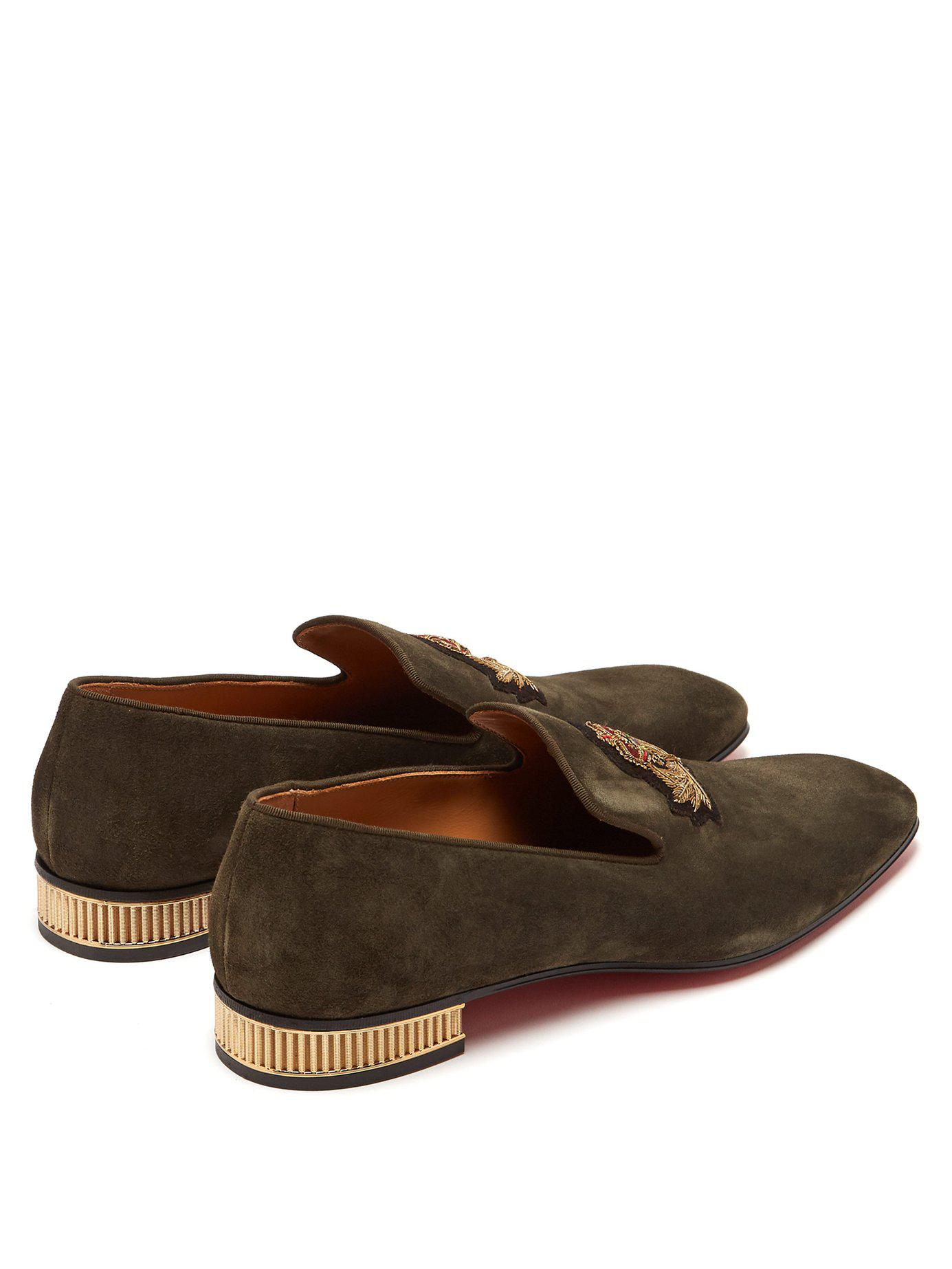 2b7786e05f1 Christian Louboutin - Brown Captain Colonnaki Crest Suede Loafers for Men -  Lyst. View fullscreen