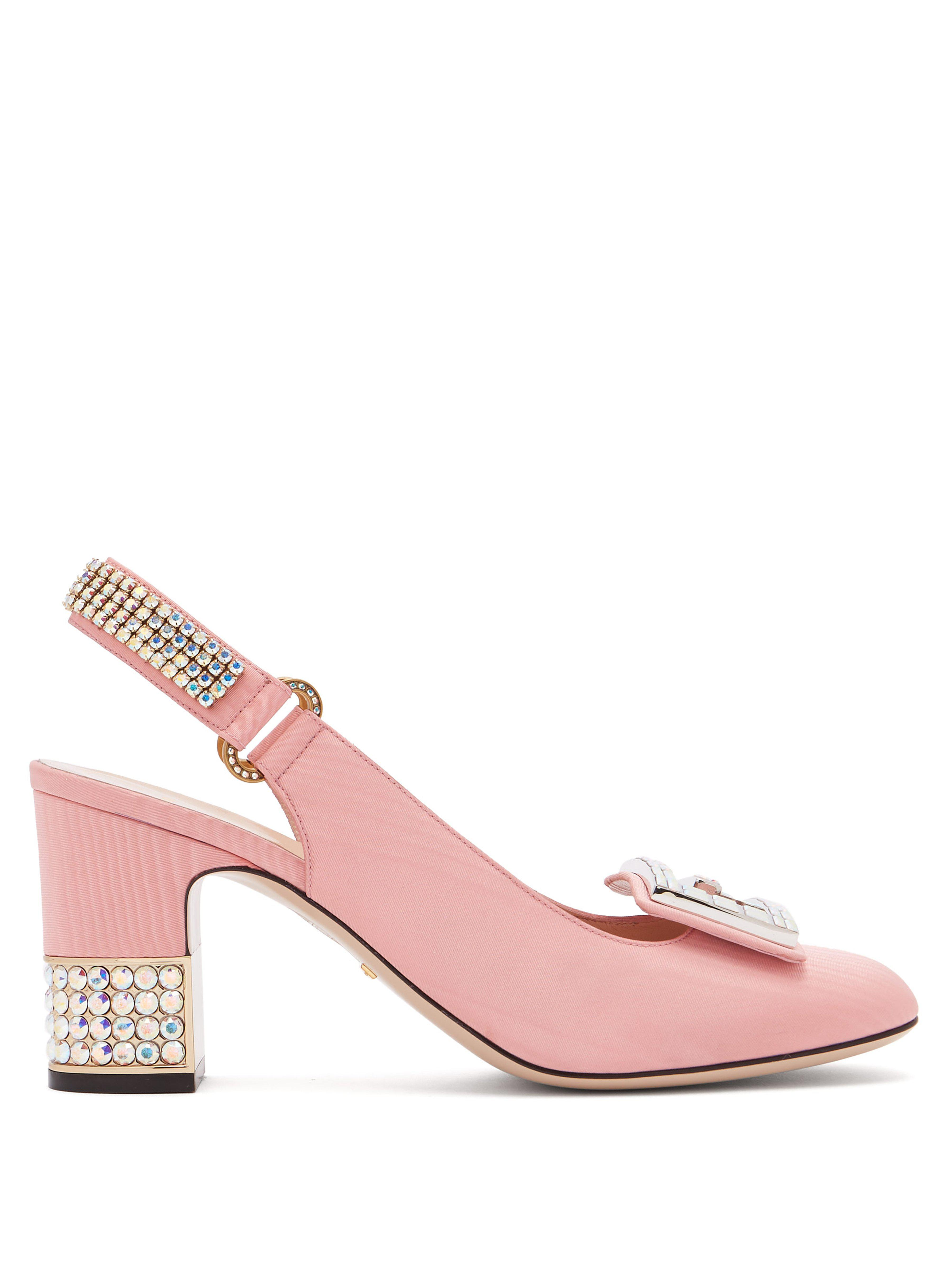 e9b767afd0db Gucci Madelyn Crystal Embellished Silk Moire Pumps in Pink - Lyst