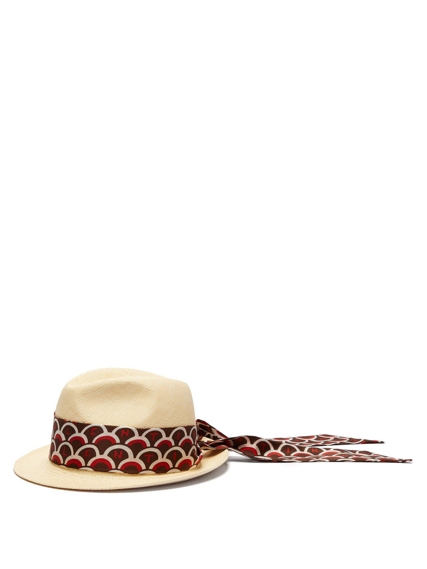 708449e5c79 Lyst - Valentino Scale Print Scarf Straw Panama Hat in Brown