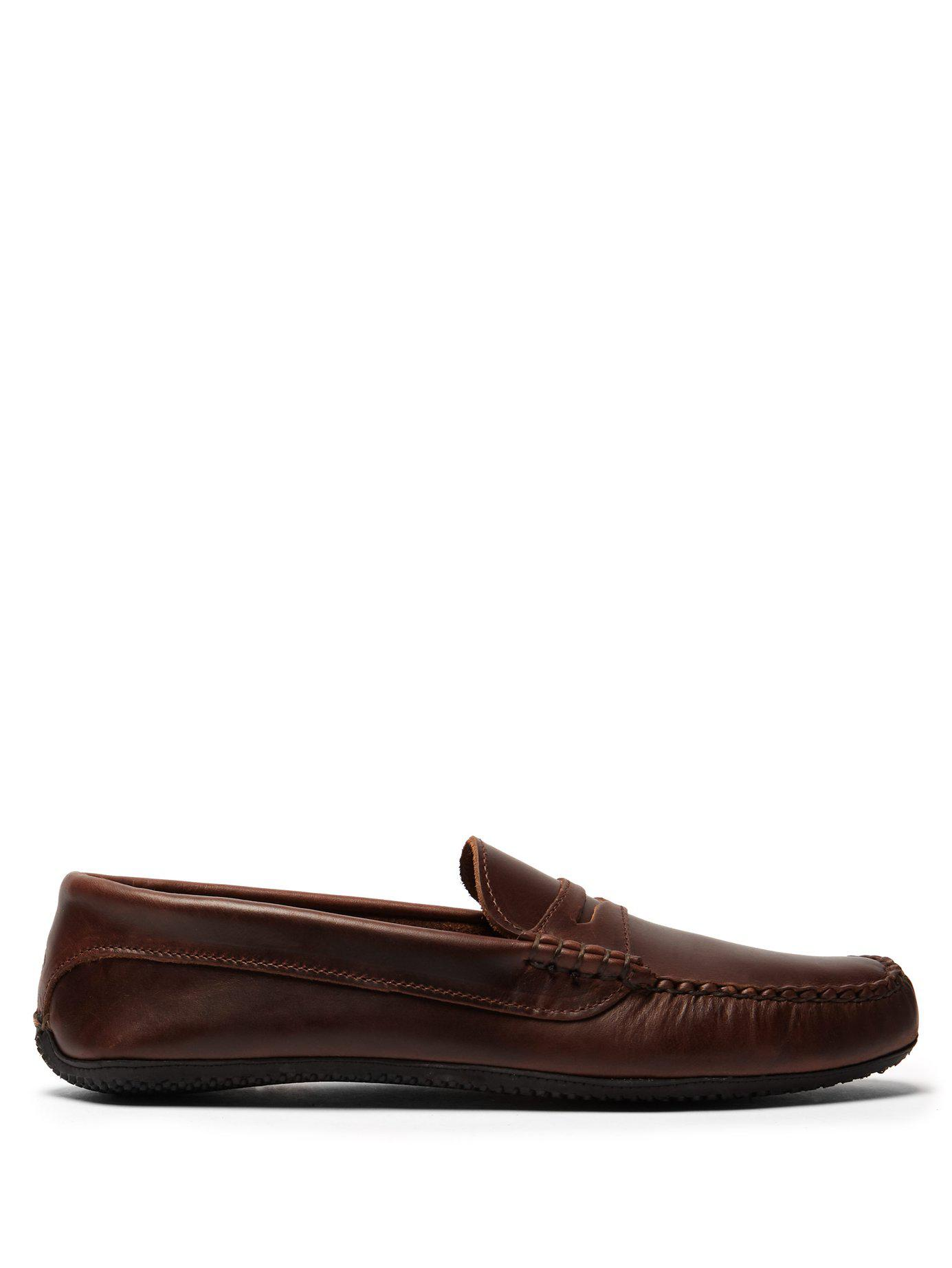 c606cb26504 Lyst - Quoddy Penny Driver Leather Loafers in Brown for Men