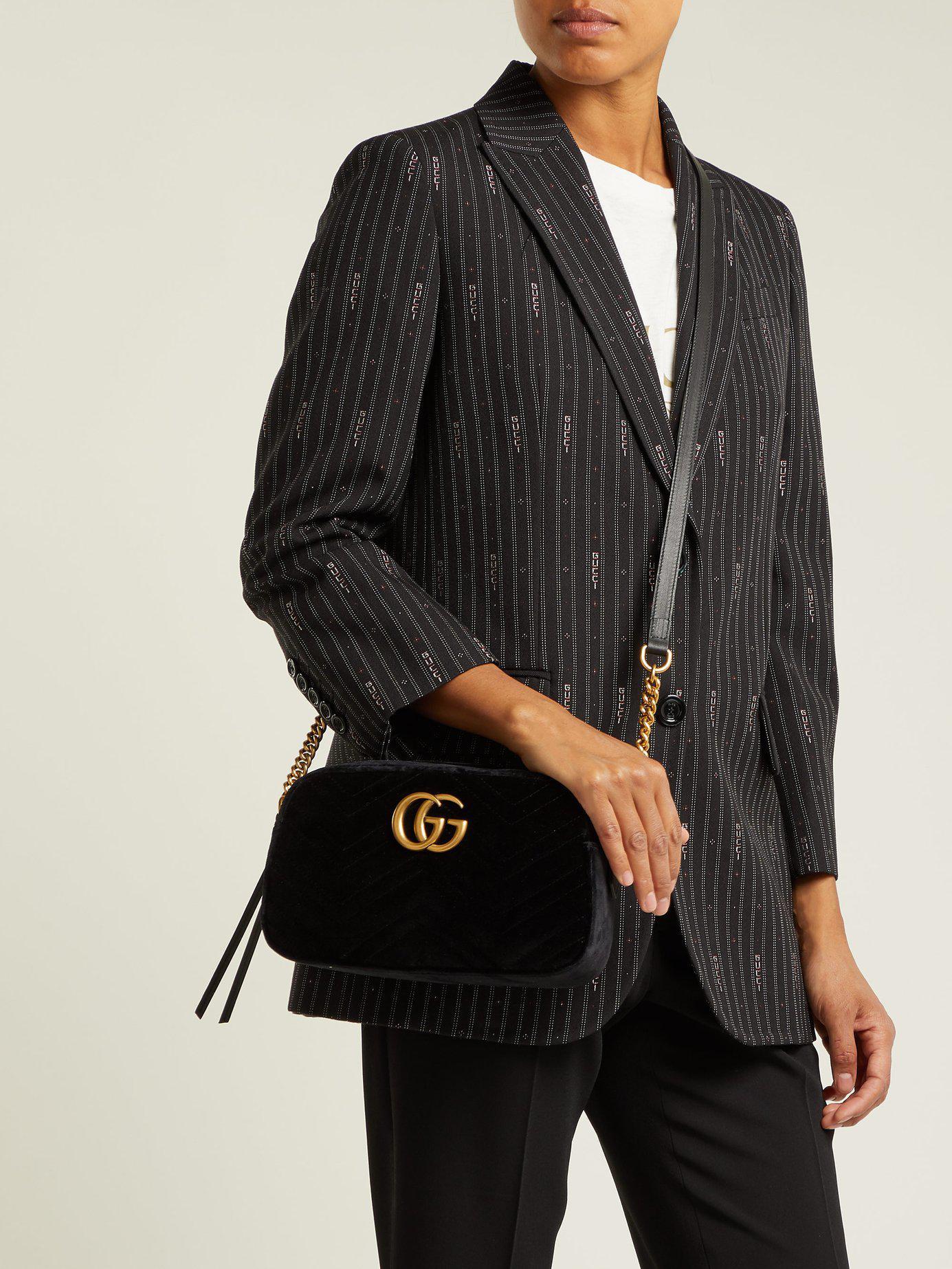 9c6d356f56a185 Gucci - Black GG Marmont Velvet Small Shoulder Bag - Lyst. View fullscreen