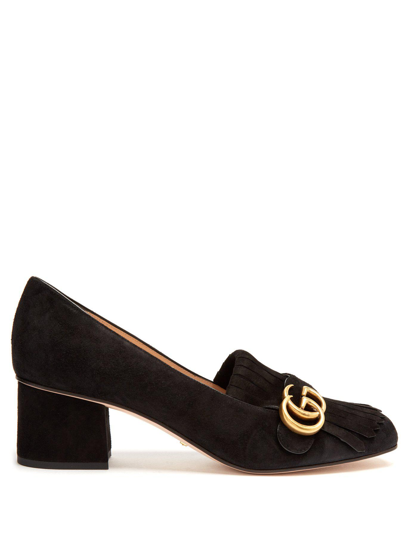 007be9d86 Gucci Marmont Fringed Suede Loafers in Black - Save 5% - Lyst