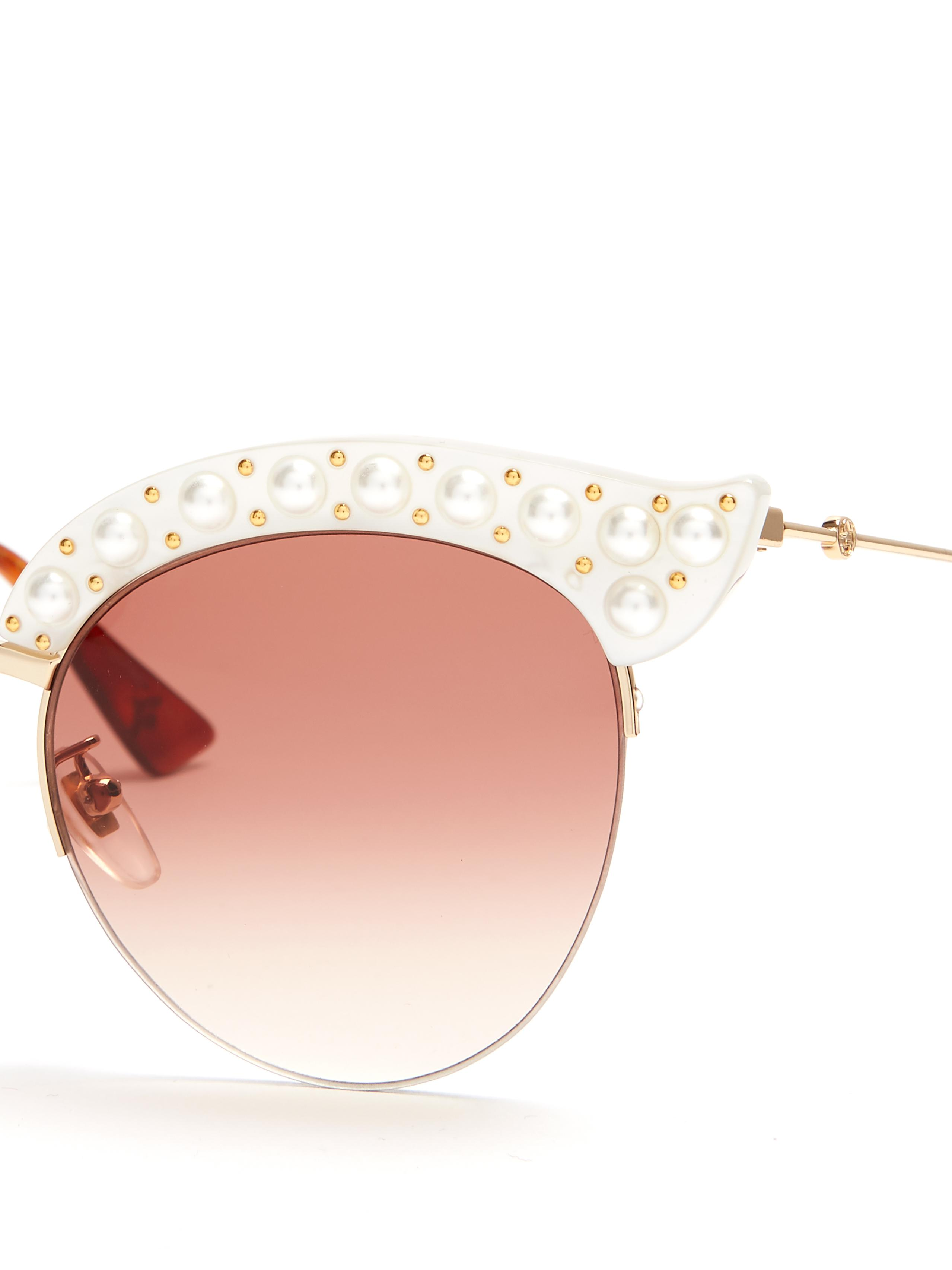 464c51ae666 Gucci Cat-eye Faux-pearl Embellished Metal Sunglasses in White - Lyst