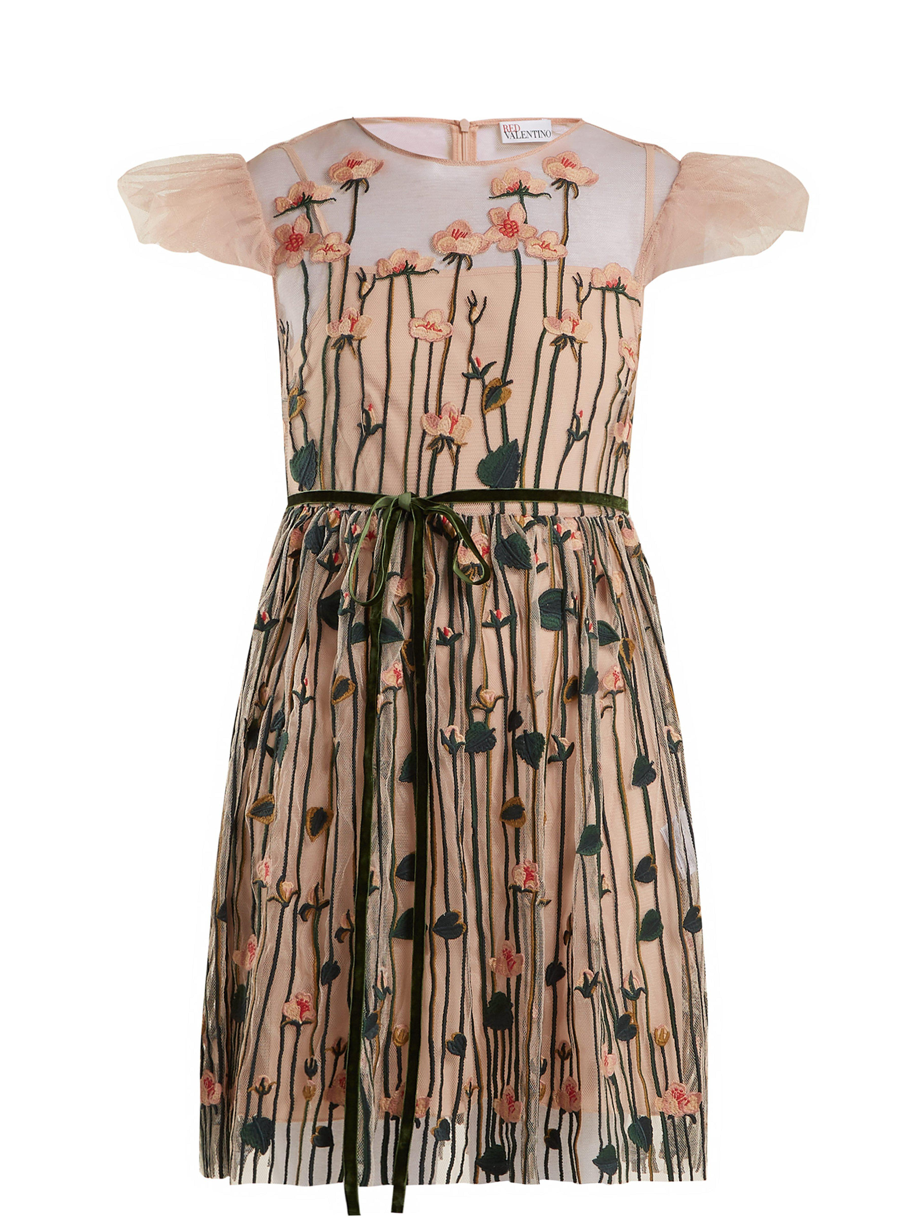 bc5ec373c400 RED Valentino Floral Embroidered Tulle Mini Dress in Natural - Lyst