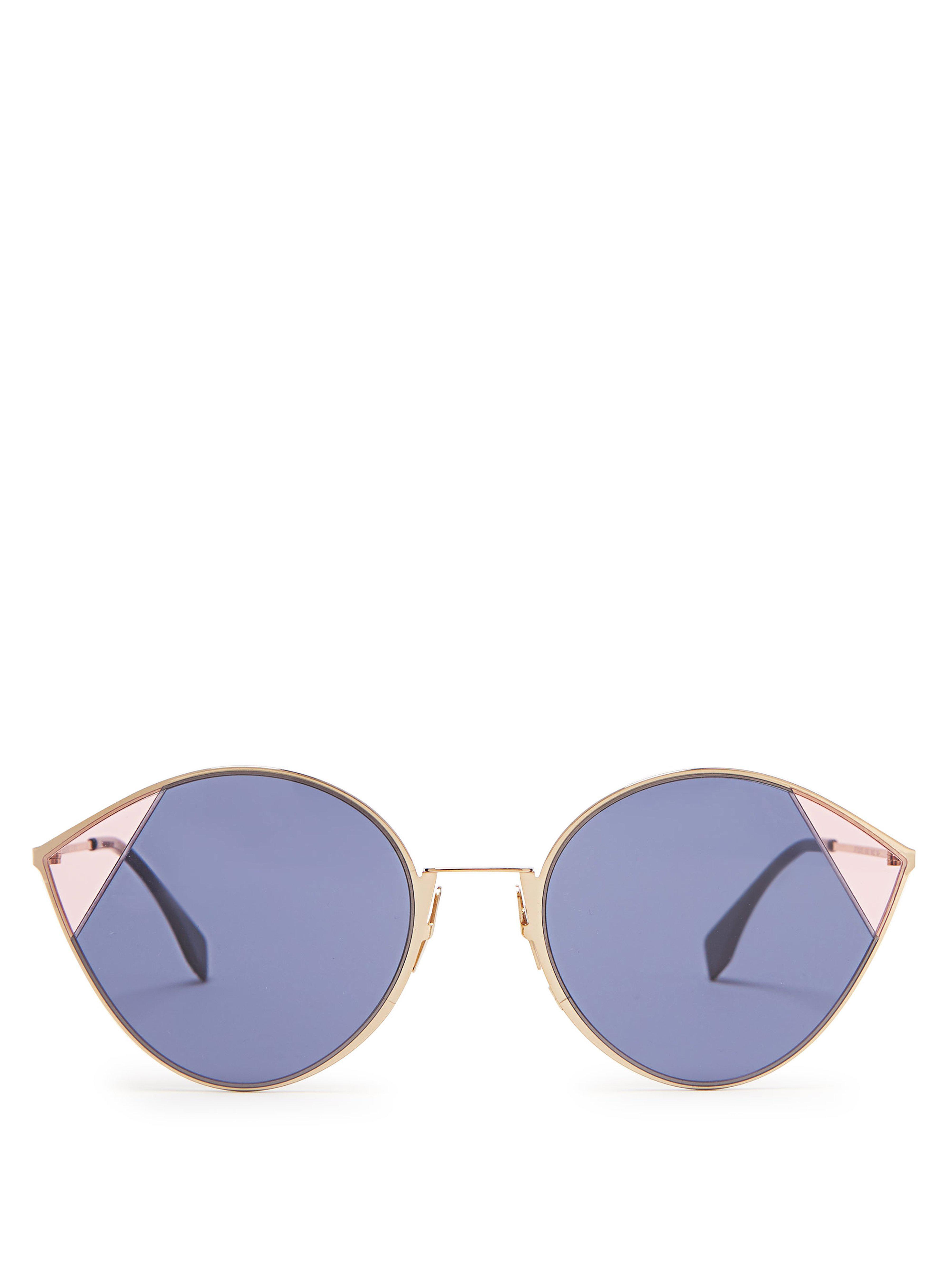 1333bc9c1792 Fendi Cat Eye Metal Sunglasses in Blue - Lyst