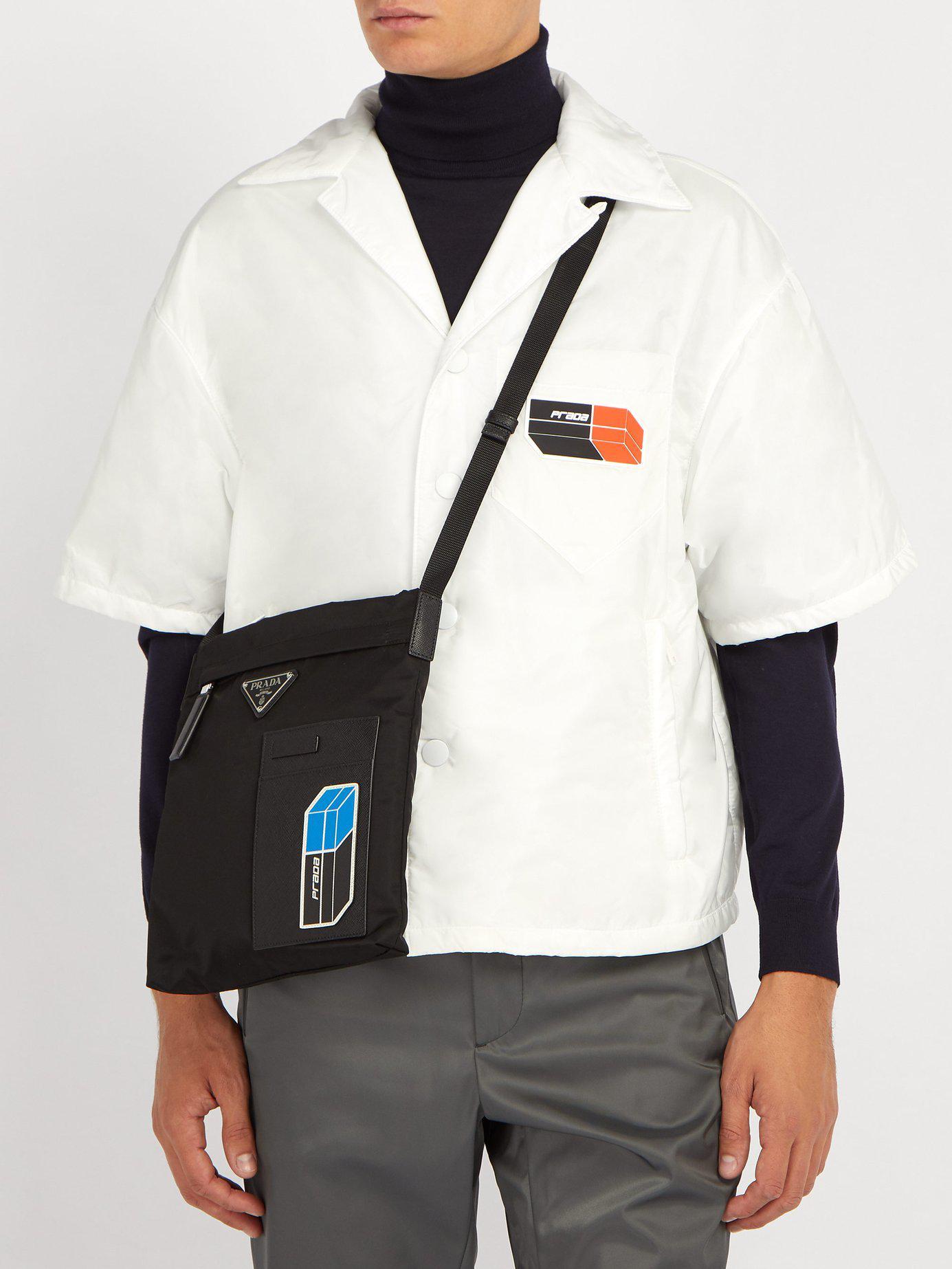 bab58870b095 Prada Logo-plaque Nylon Cross-body Bag in Black for Men - Lyst