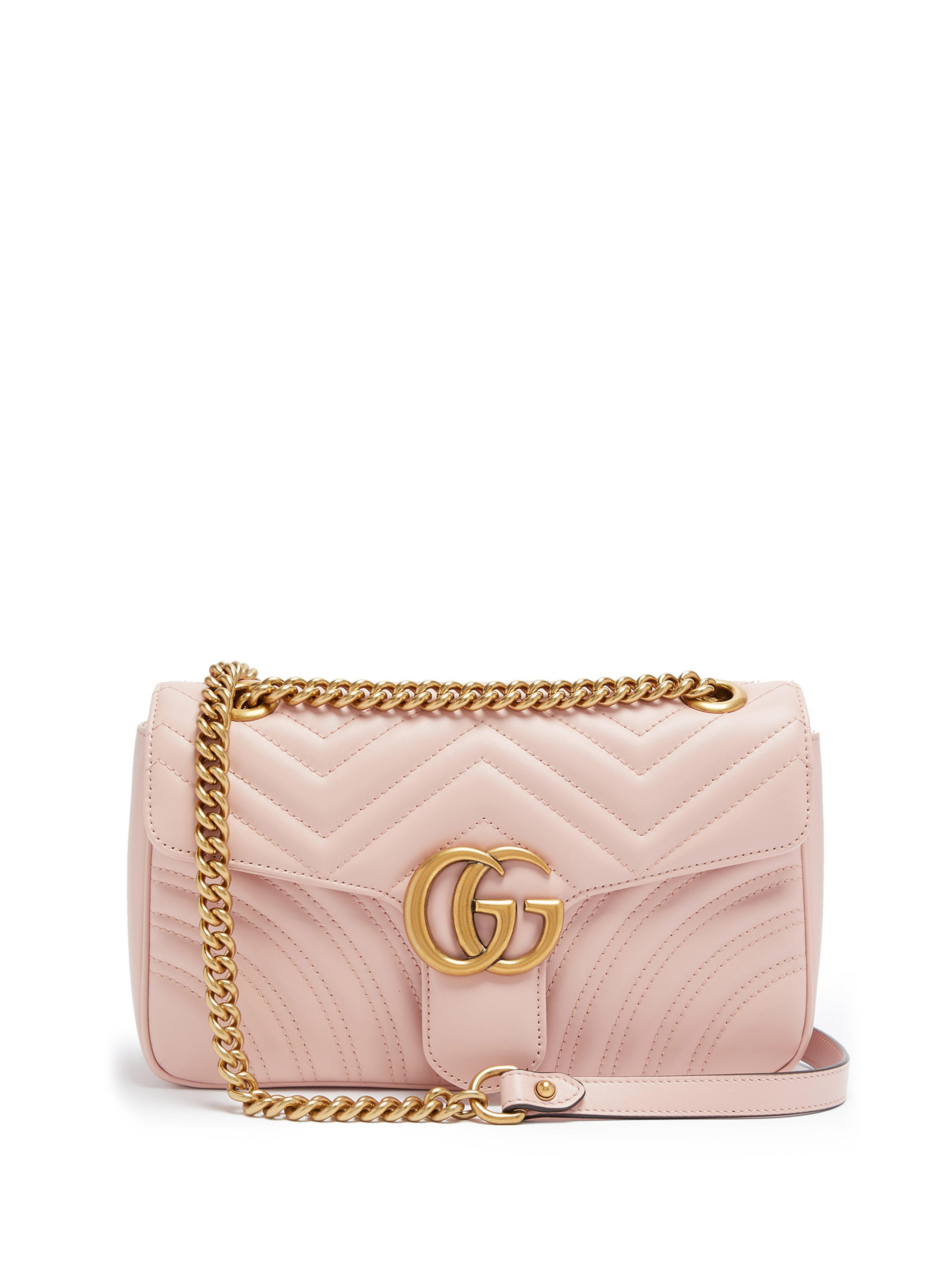 be31c080fce Gucci Gg Marmont Small Quilted Leather Shoulder Bag in Pink - Save ...