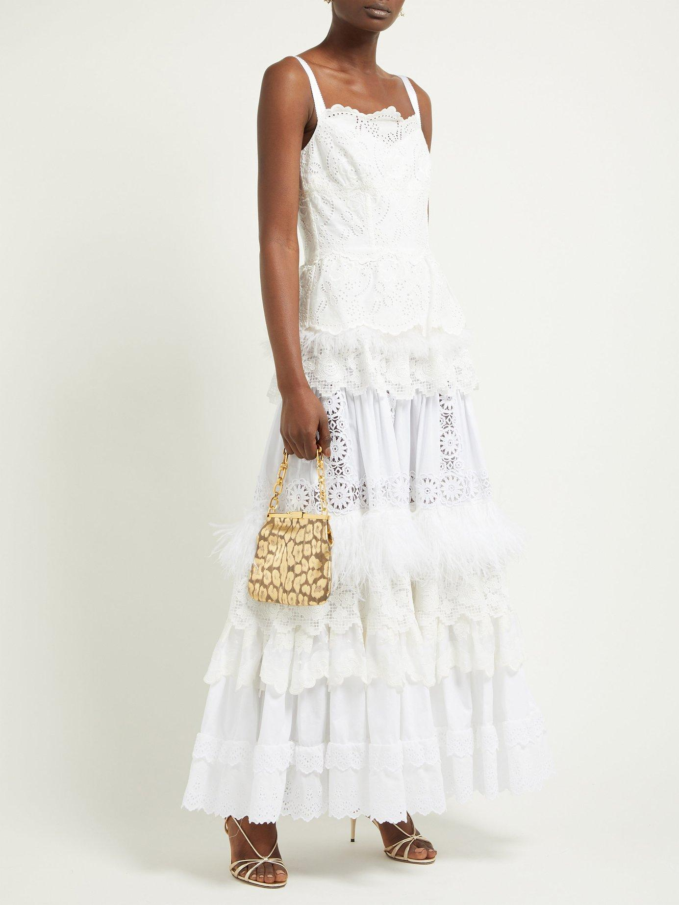 29896e5ad98dad Lyst - Dolce   Gabbana Floral Cotton Blend Broderie Anglaise Gown in White