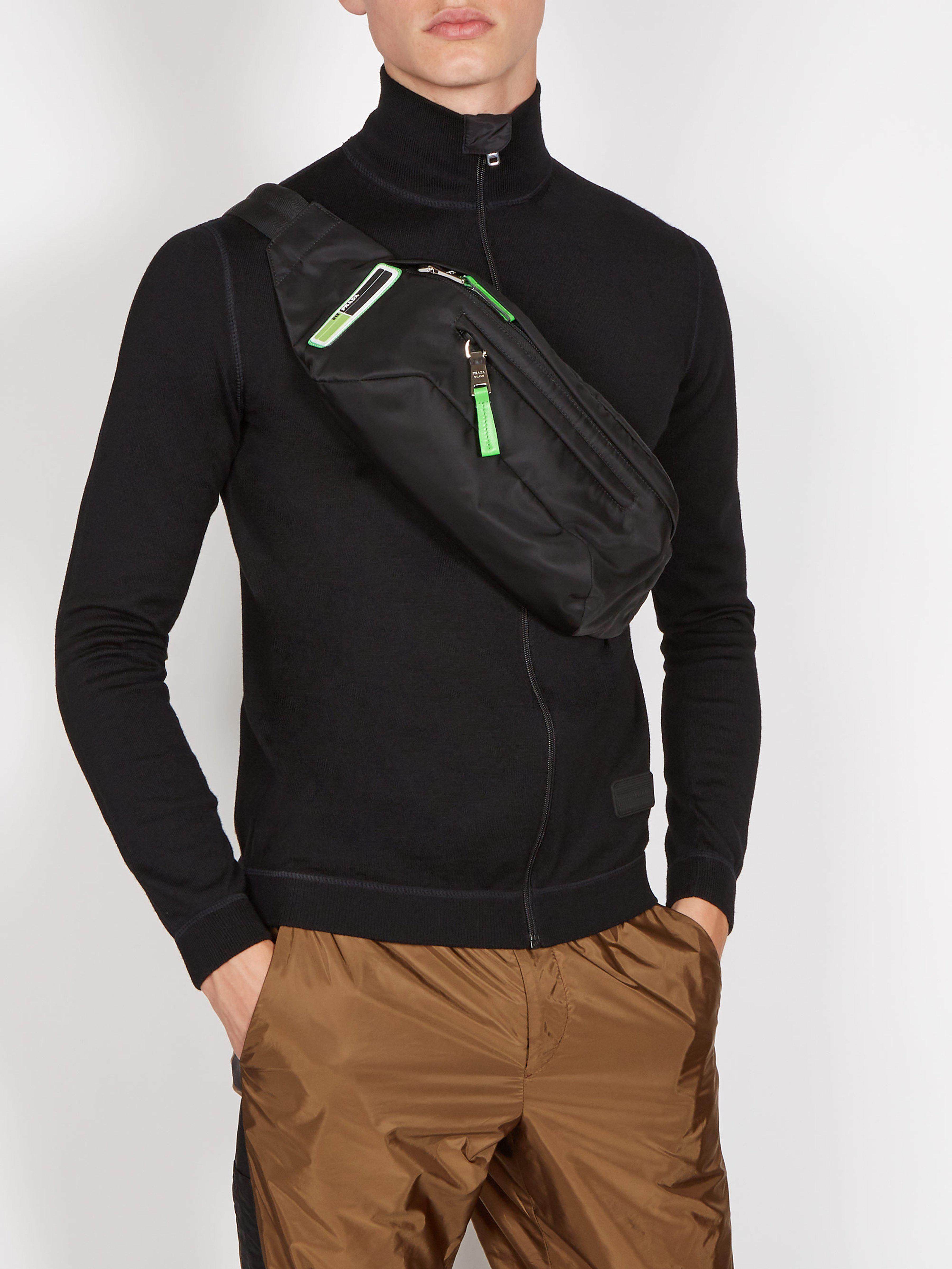f48c1a195564 Prada Logo Nylon Belt Bag in Black for Men - Lyst